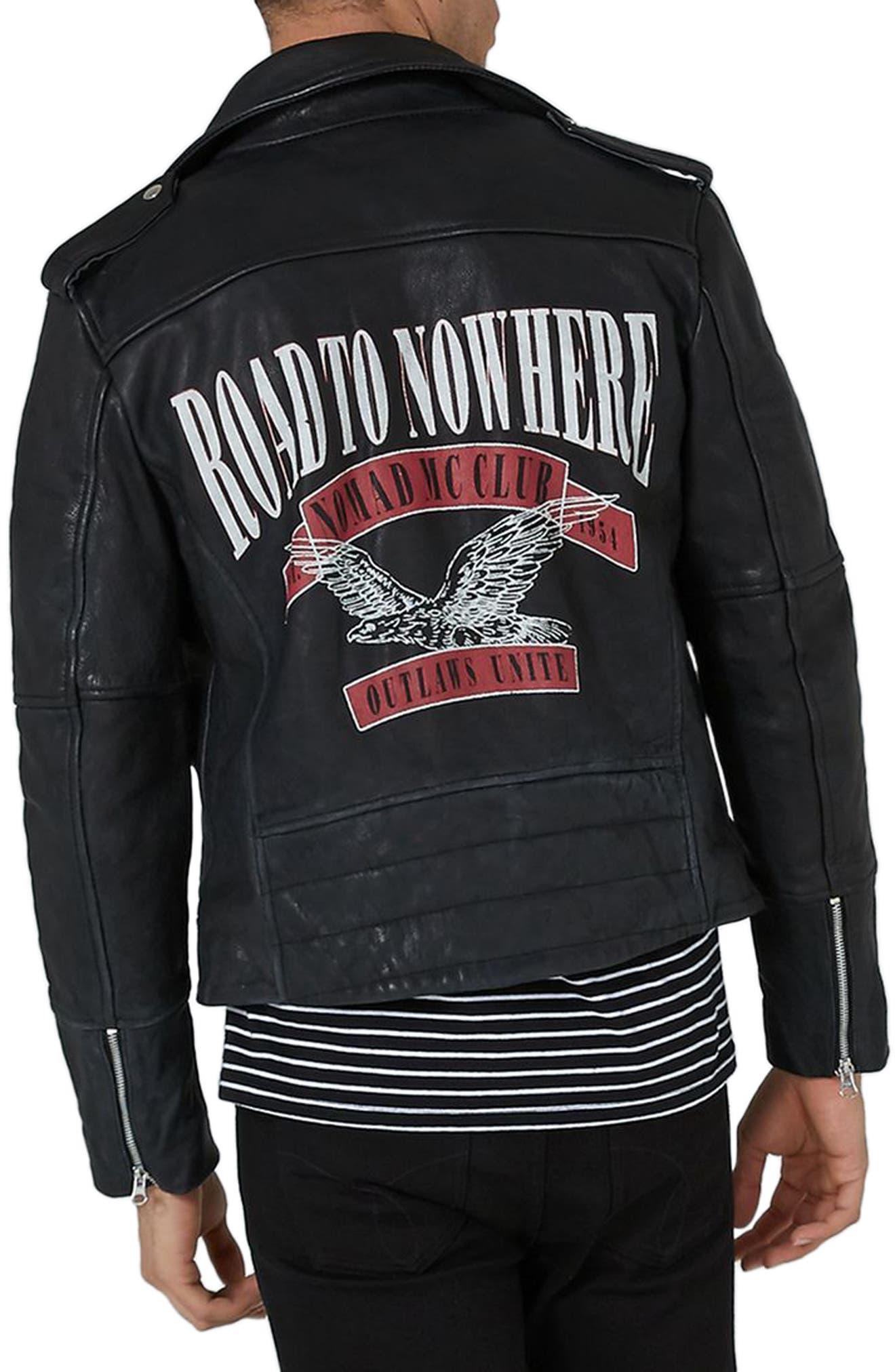 Print Leather Biker Jacket,                             Alternate thumbnail 2, color,                             Black Multi