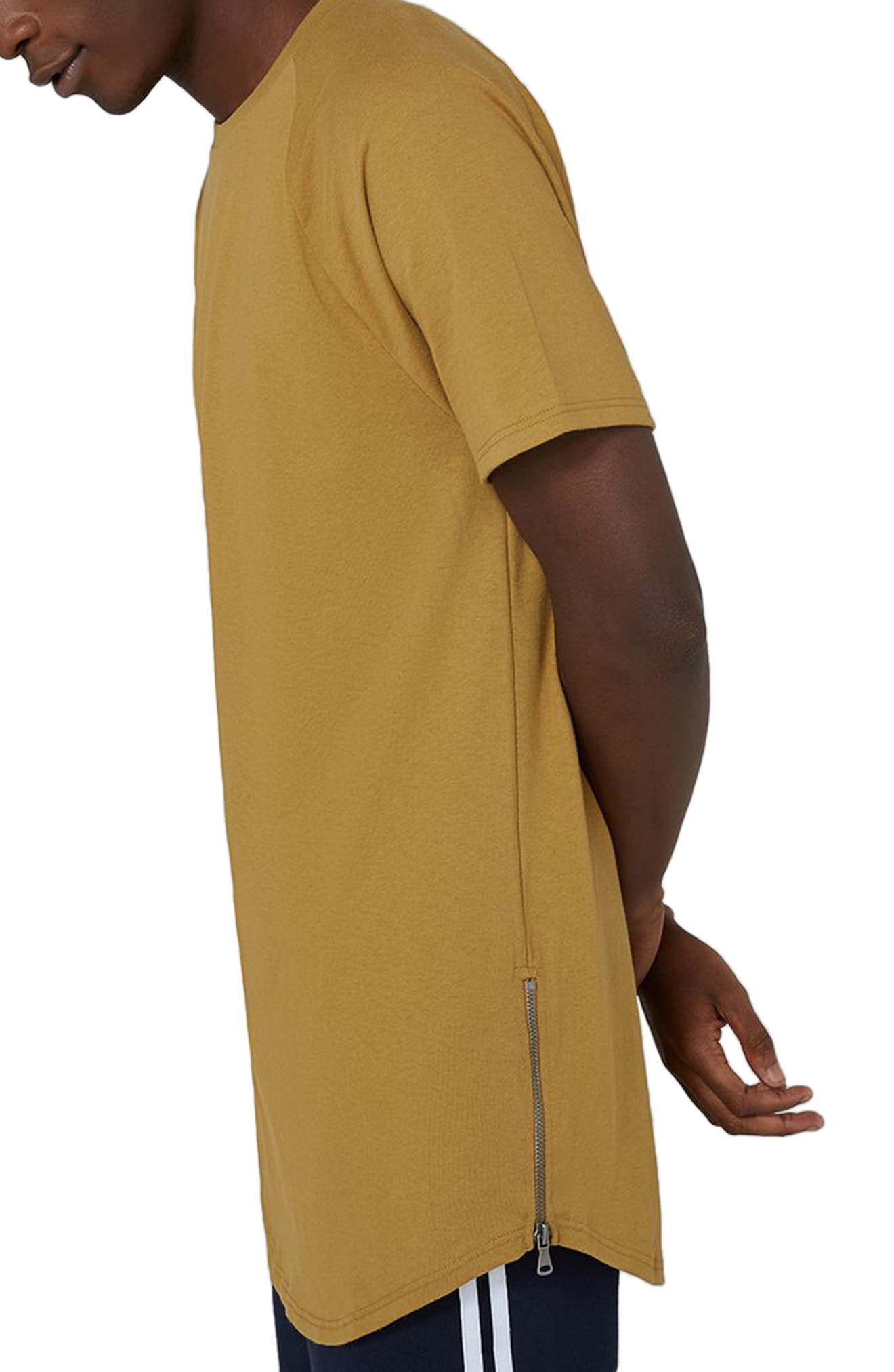 Side Zip Longline T-Shirt,                             Alternate thumbnail 3, color,                             Yellow