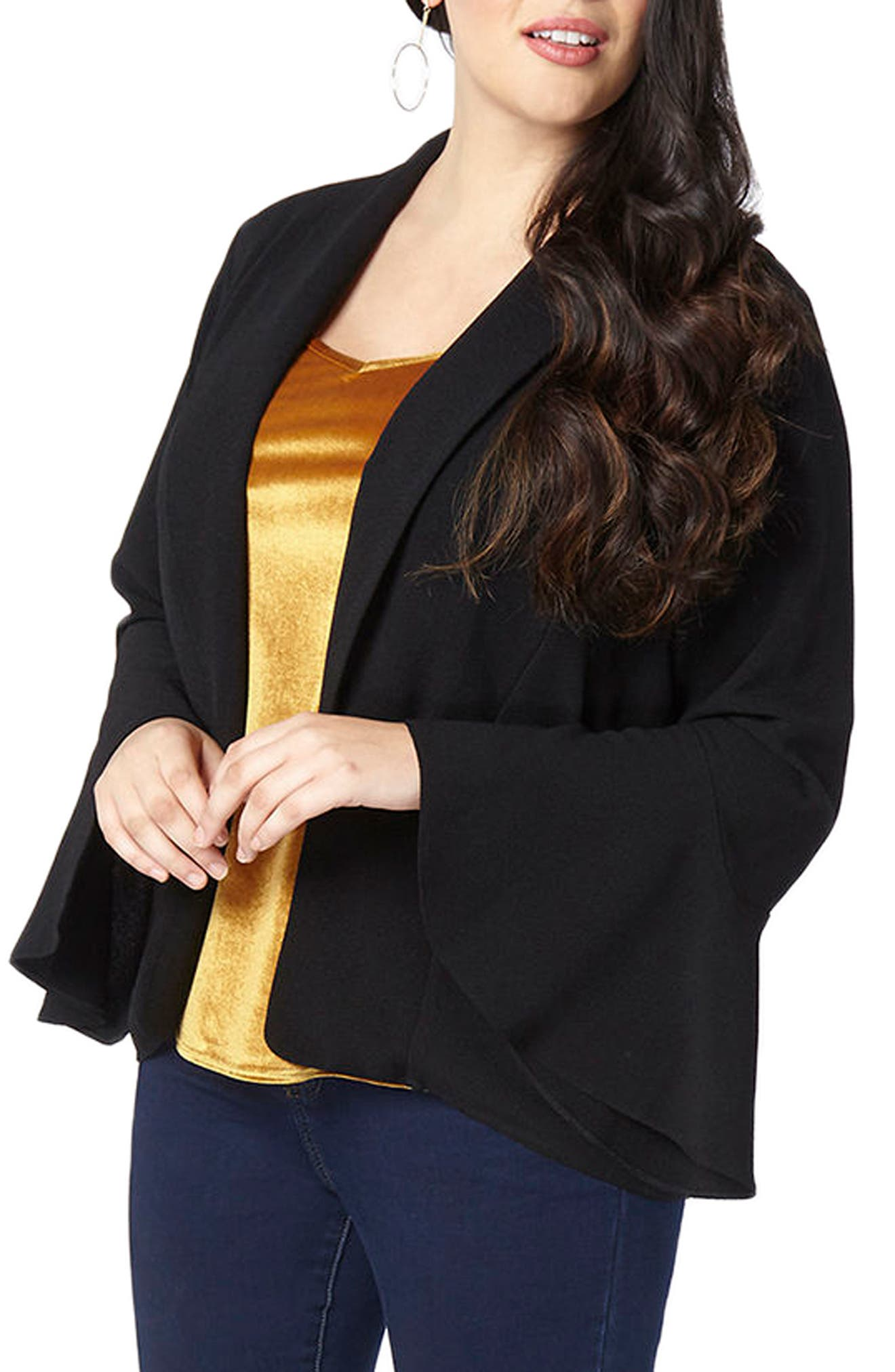 Alternate Image 3  - Evans Bell Sleeve Crepe Jacket (Plus Size)