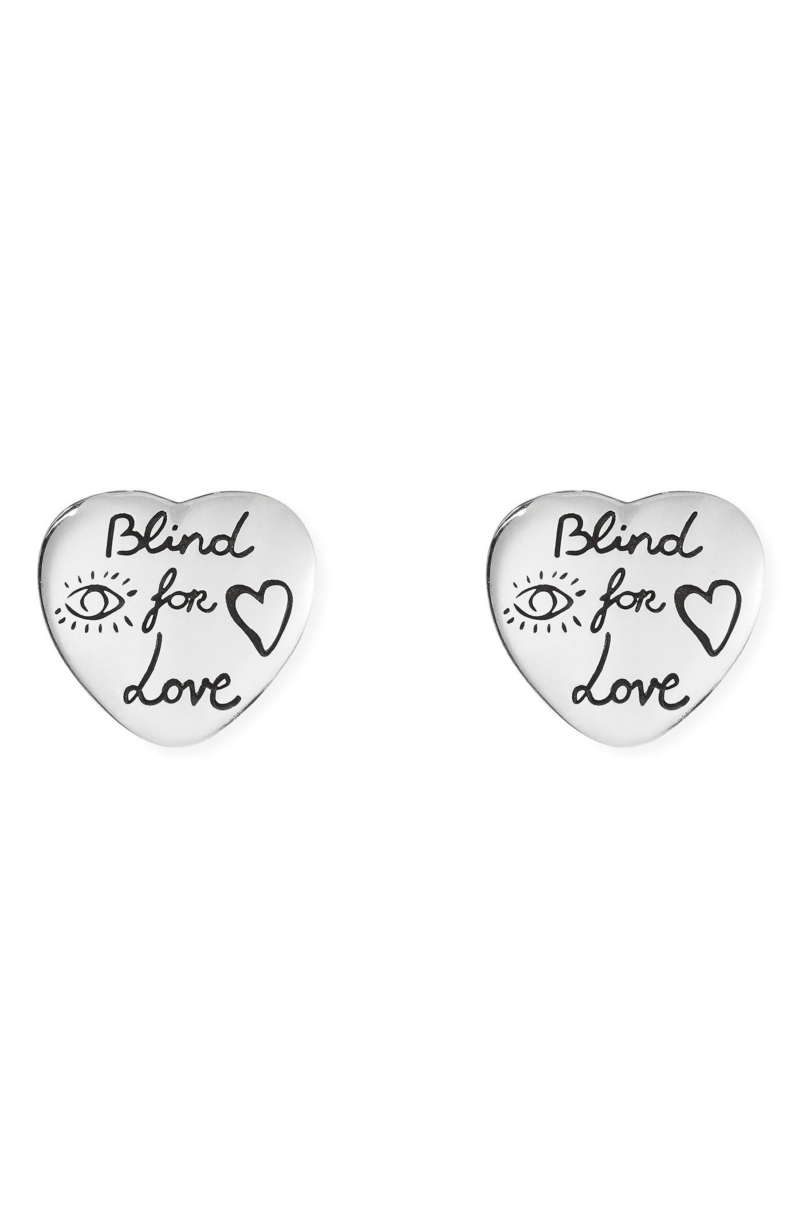 Blind for Love Stud Earrings,                             Main thumbnail 1, color,                             Sterling Silver