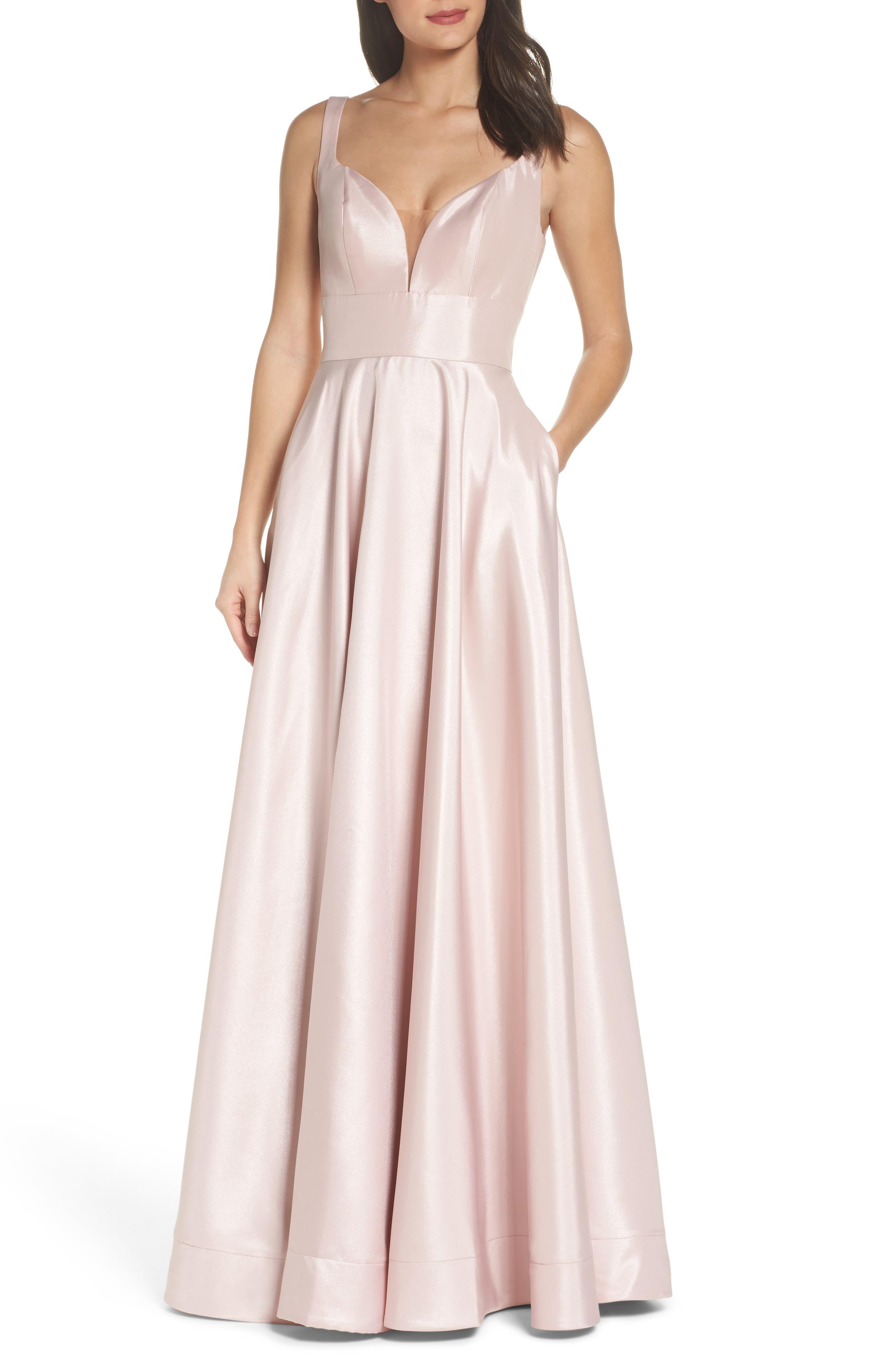 Mikado A-Line Gown,                         Main,                         color, Light Blush