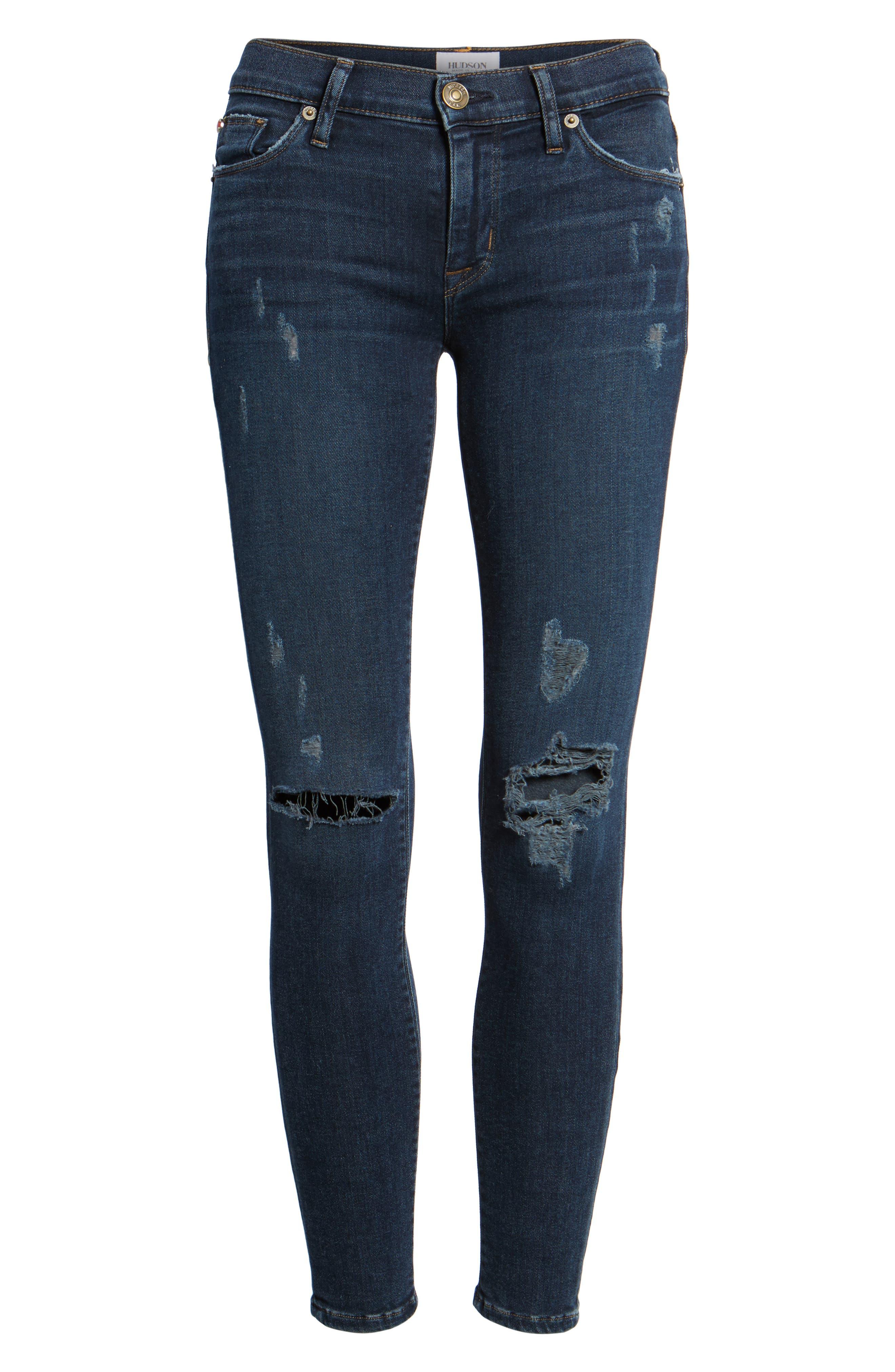 Krista Ankle Super Skinny Jeans,                             Alternate thumbnail 7, color,                             Pillow Talk