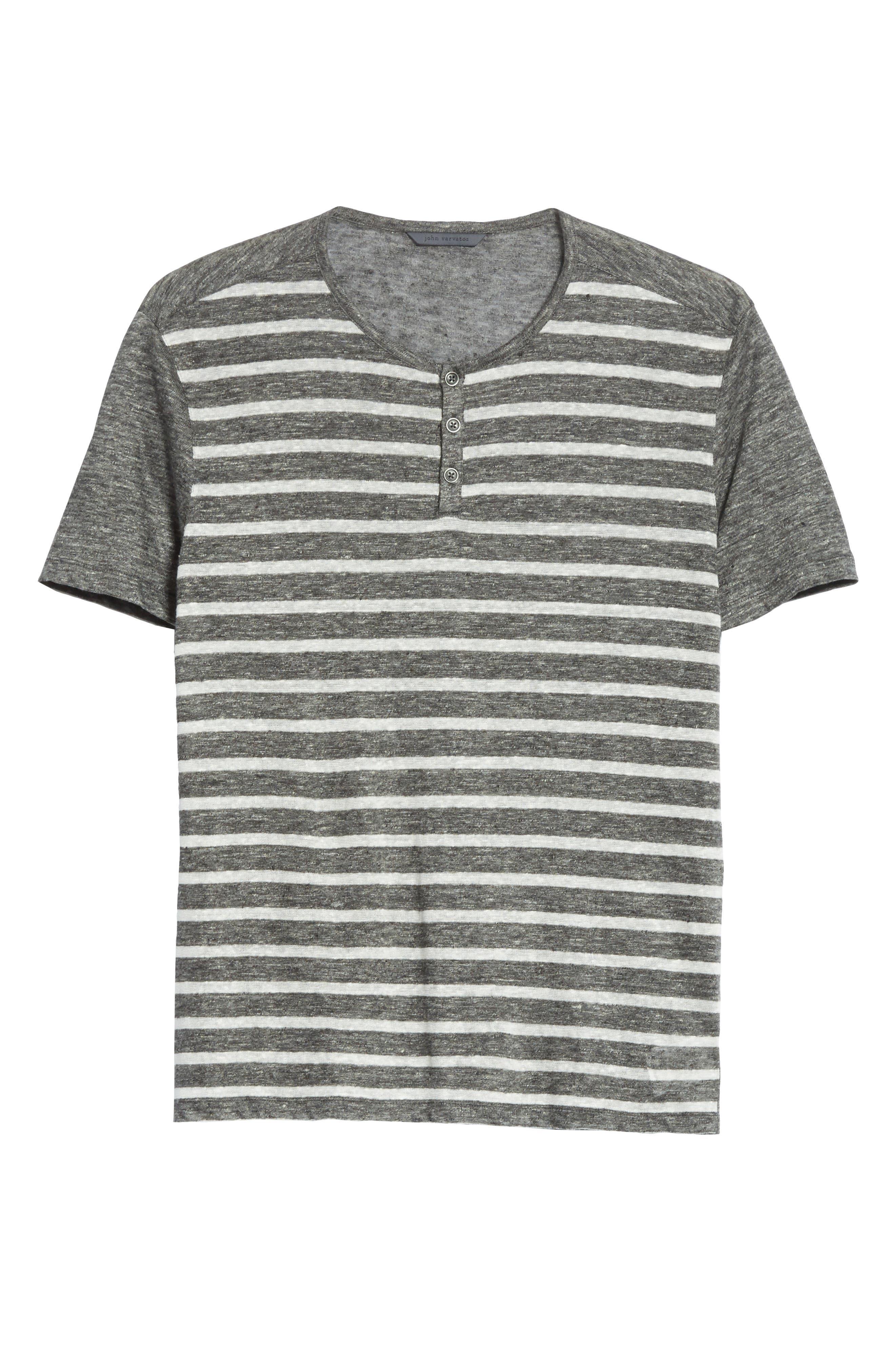 Alternate Image 6  - John Varvatos Collection Stripe Linen Henley T-Shirt