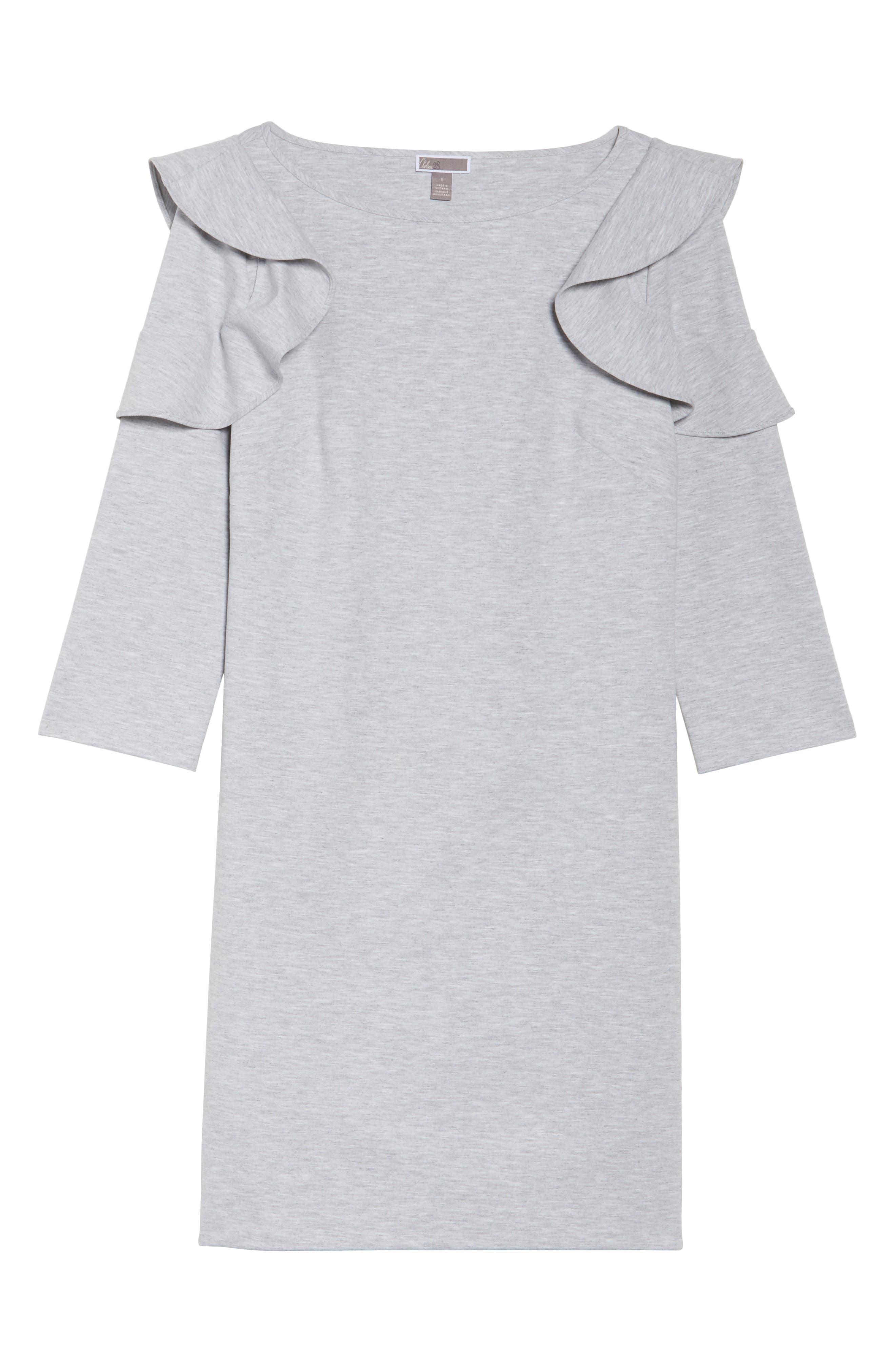 Ruffle Shoulder Sweatshirt Dress,                             Alternate thumbnail 6, color,                             Heather Grey