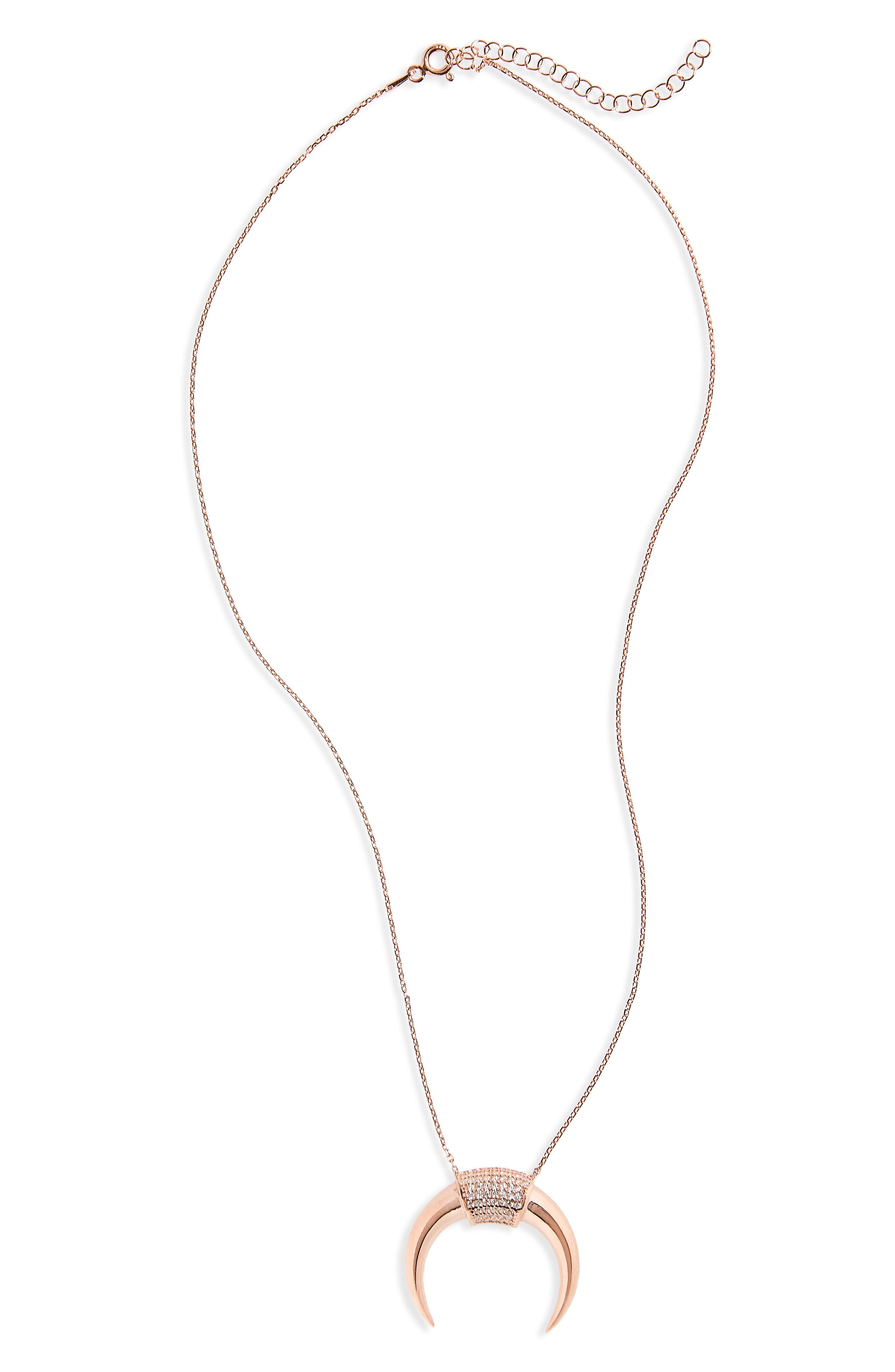 Crescent Pendant Necklace,                         Main,                         color, Rose Gold