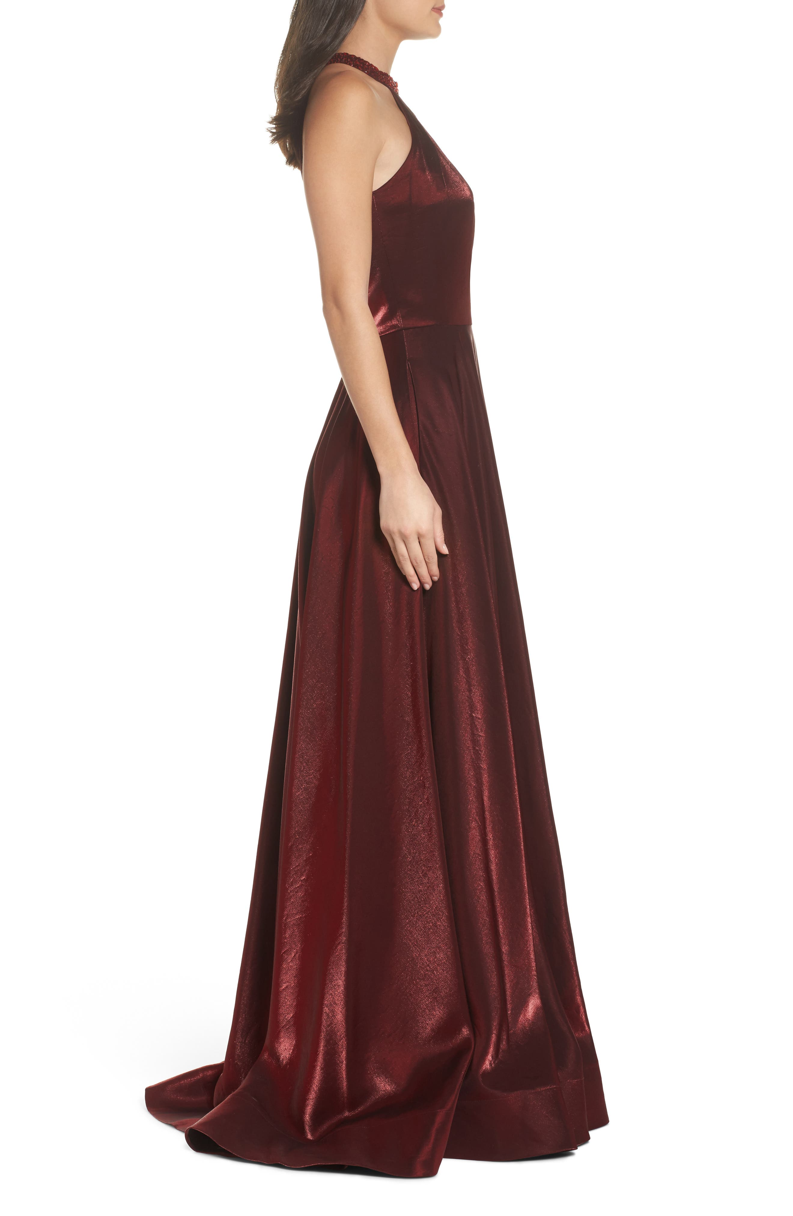 Beaded Halter Neck A-Line Gown,                             Alternate thumbnail 3, color,                             Burgundy