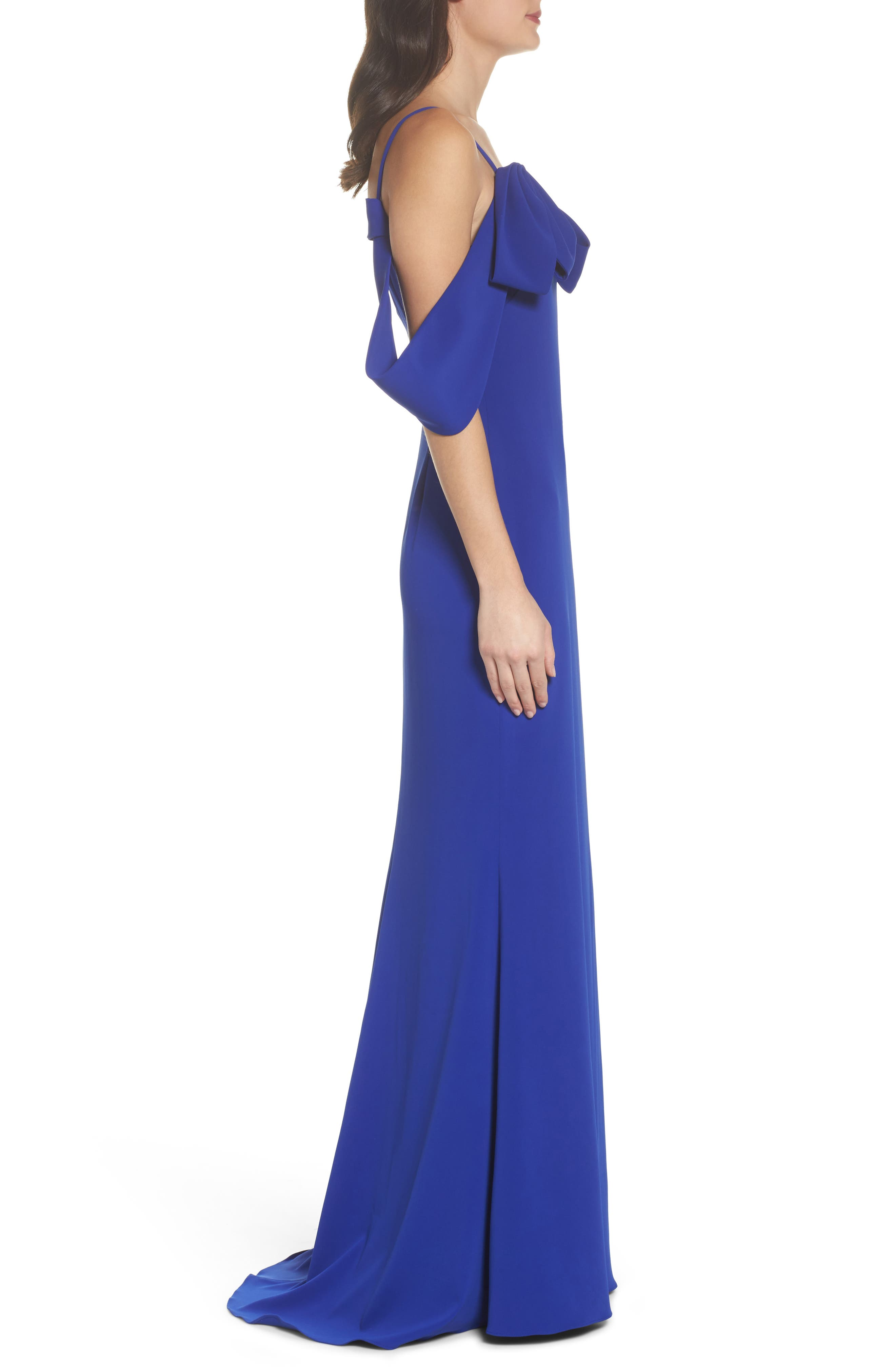 Ribbon Sleeve Cold Shoulder Gown,                             Alternate thumbnail 3, color,                             Electric Blue