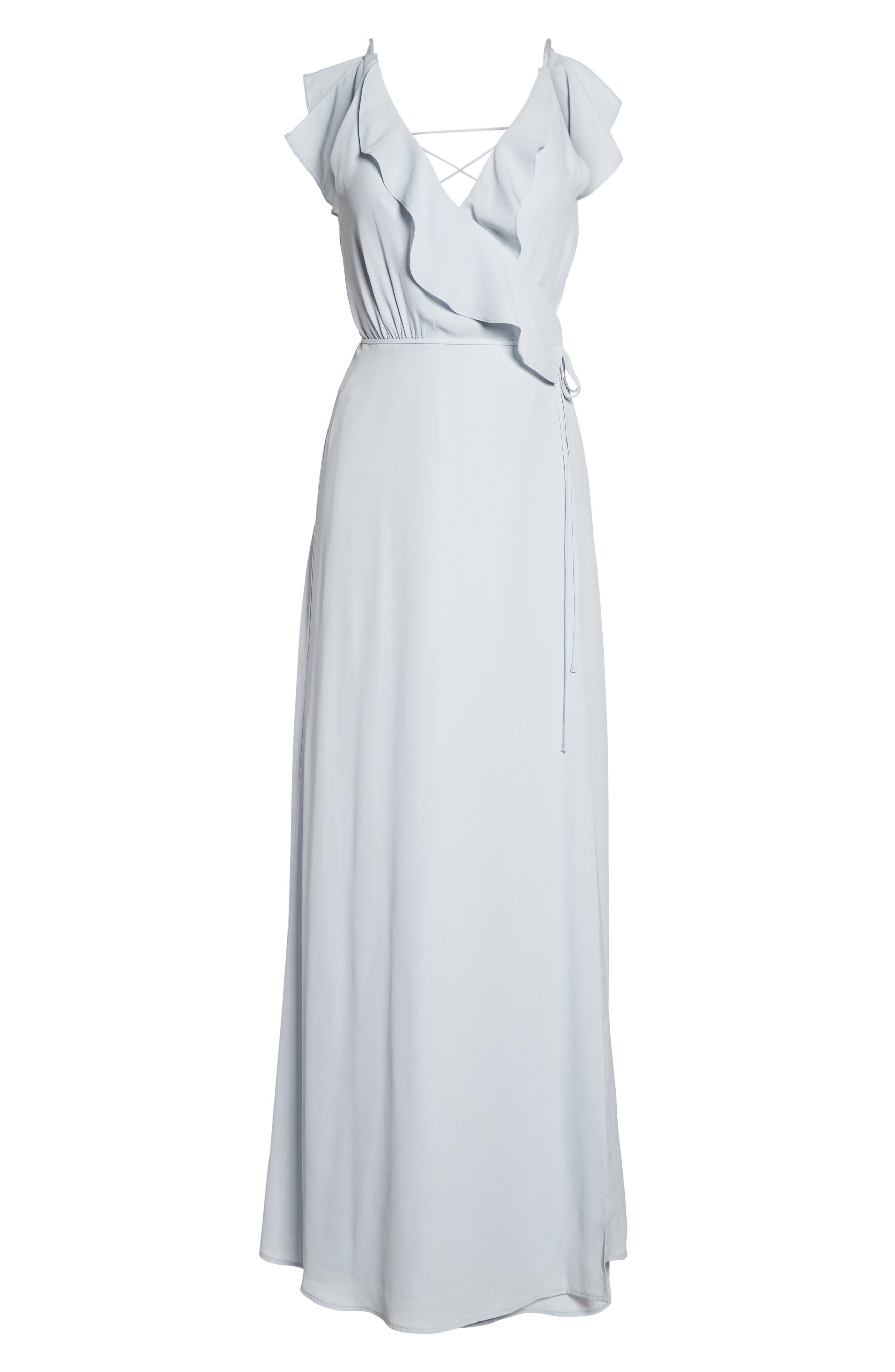 Jamie Ruffle Wrap Gown,                             Alternate thumbnail 6, color,                             Ocean Mist