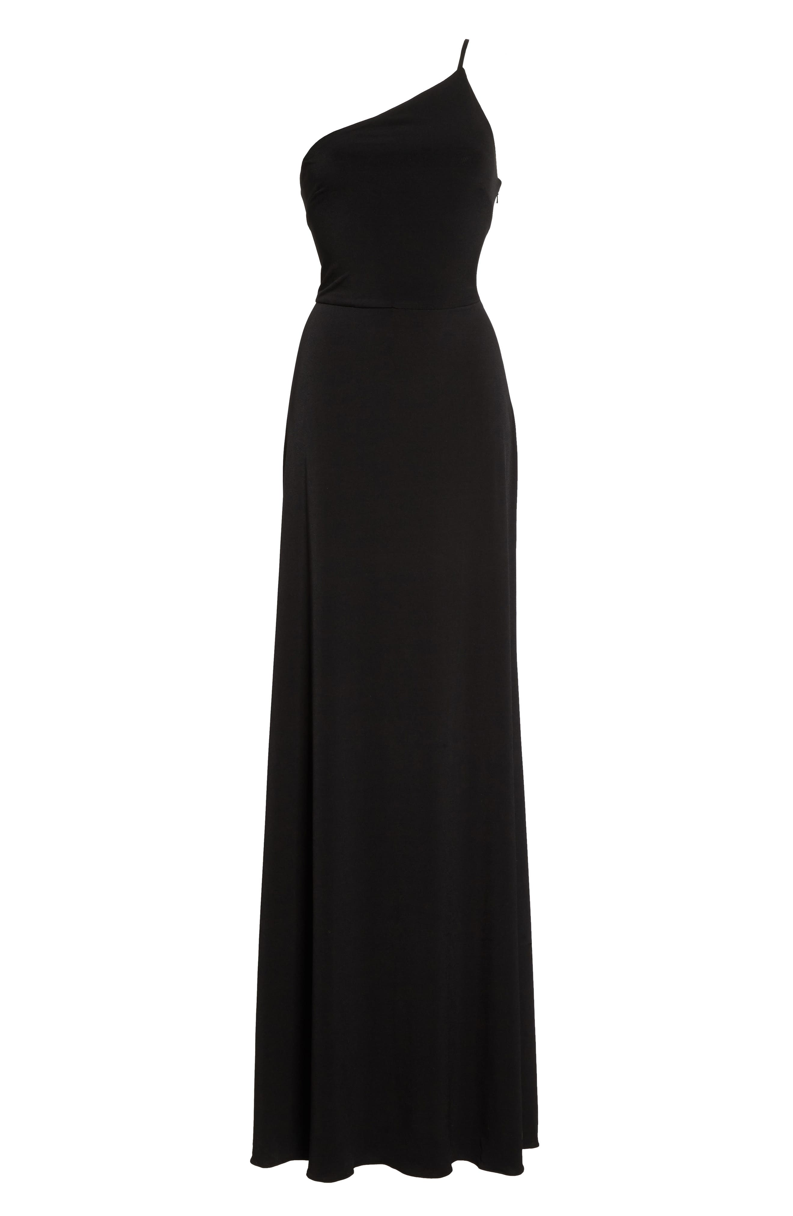 One-Shoulder Jersey Gown,                             Alternate thumbnail 6, color,                             Black