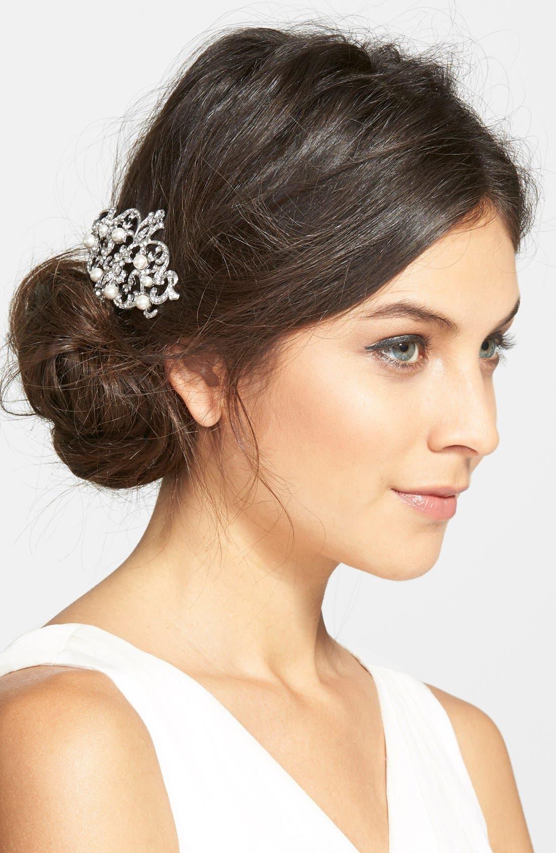 Main Image - Nina Faux Pearl & Crystal Hair Comb
