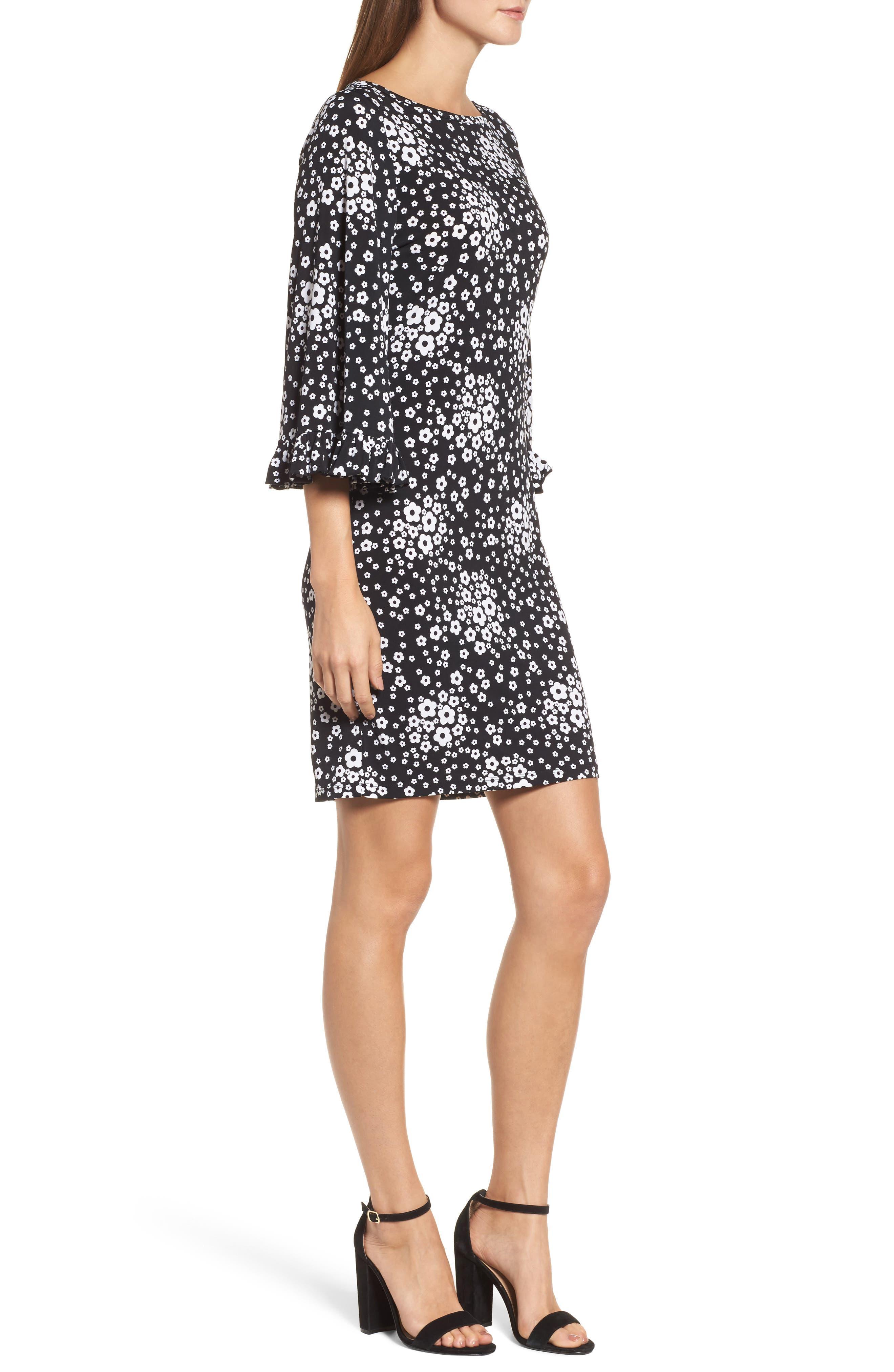 Floral Mod Shift Dress,                             Alternate thumbnail 3, color,                             Black/ White