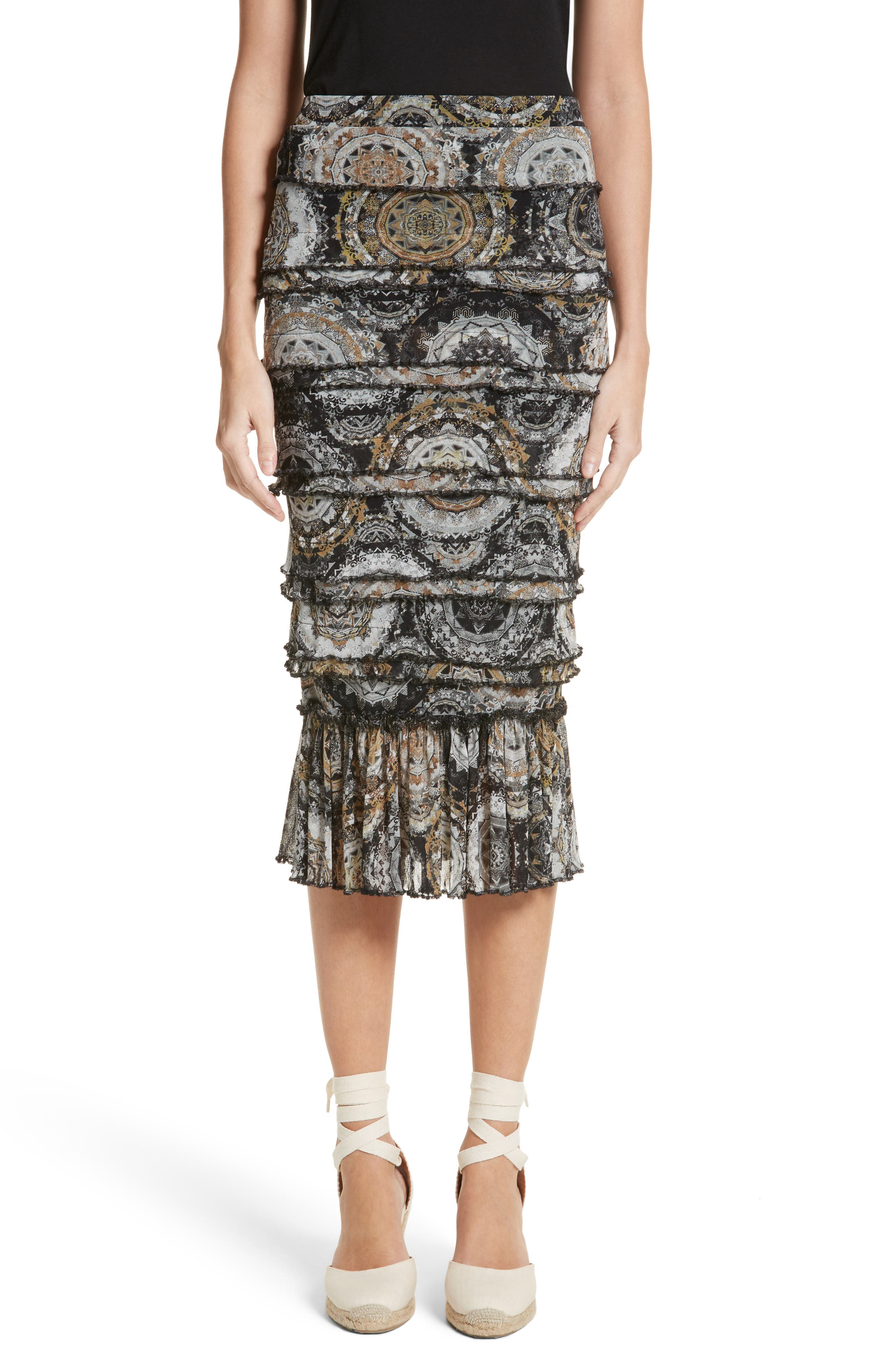 Fuzzi Ruffle Tier Tulle Mesh Pencil Skirt
