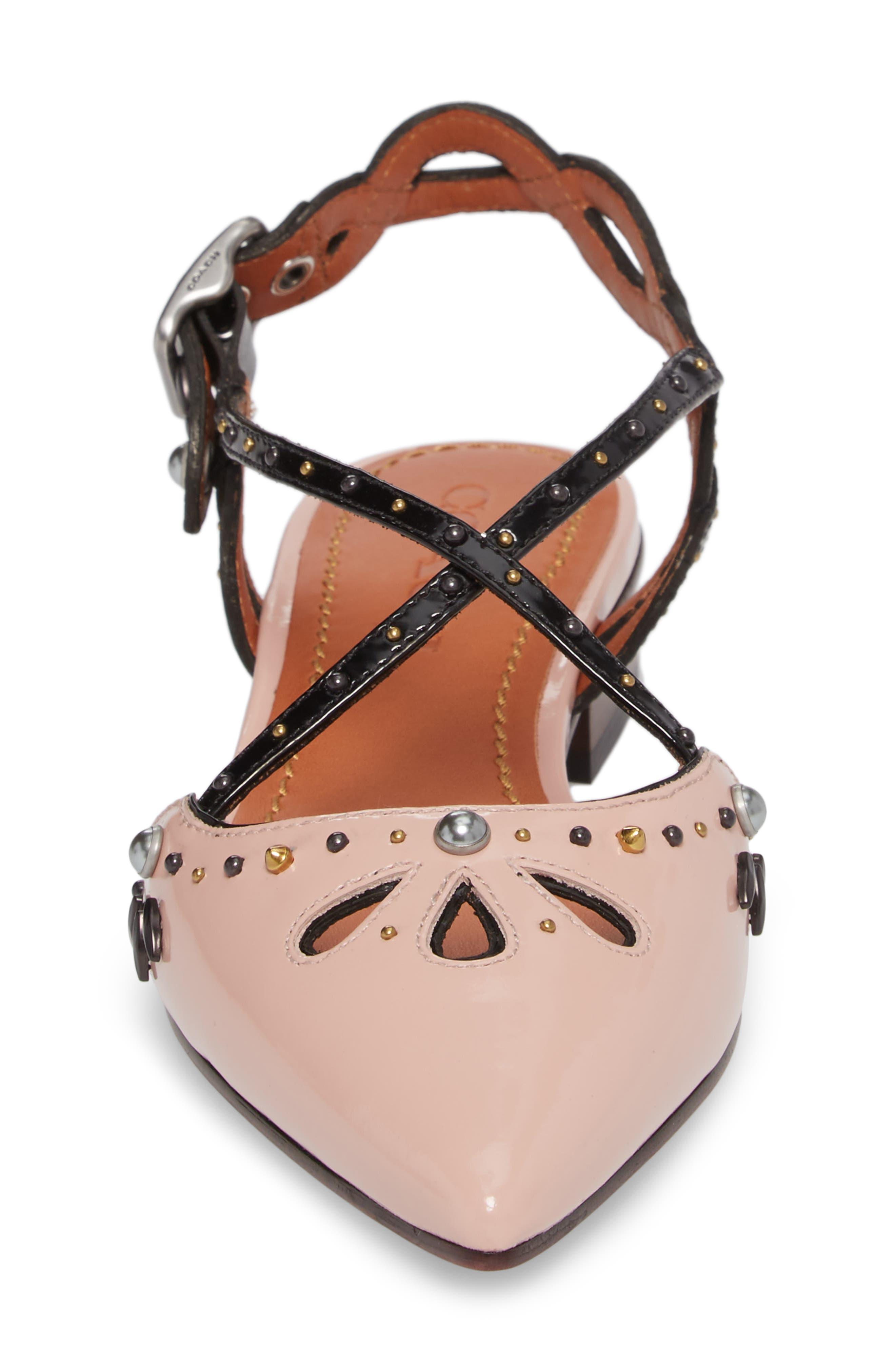 Prairie Rivet Sandal,                             Alternate thumbnail 4, color,                             Pink/ Black Leather