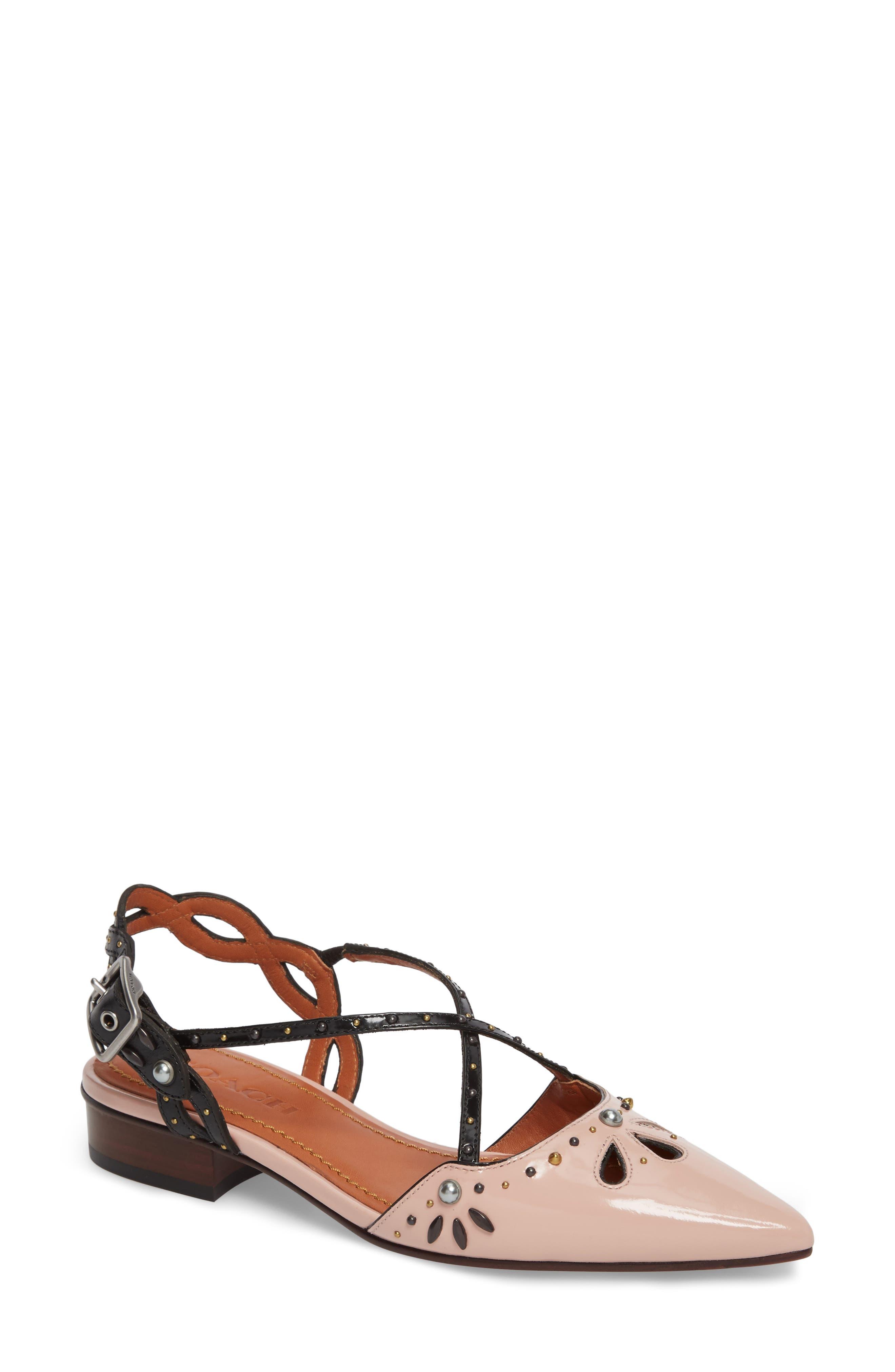 Prairie Rivet Sandal,                             Main thumbnail 1, color,                             Pink/ Black Leather