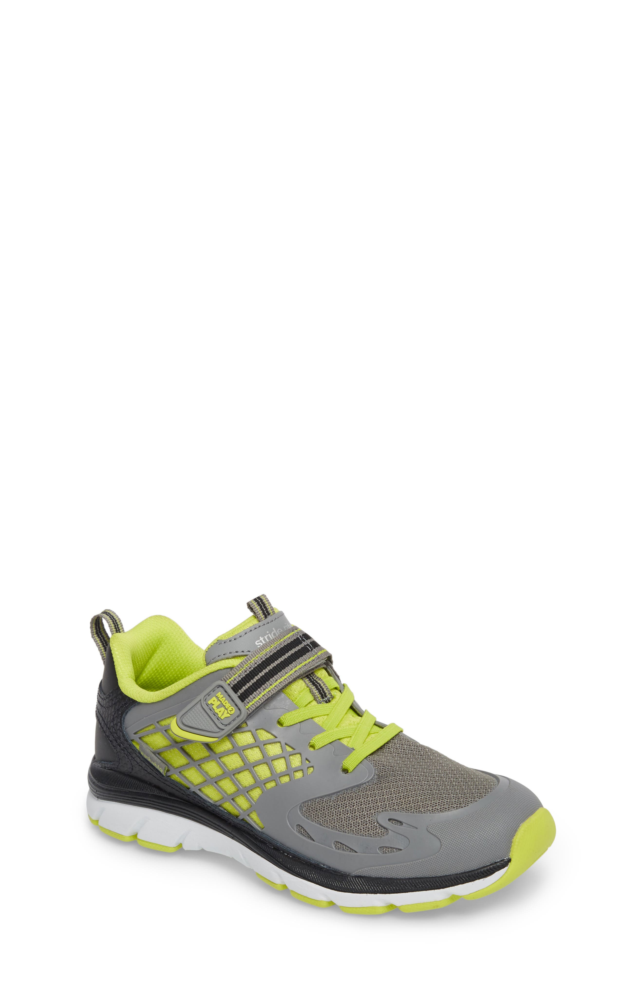 Made 2 Play Breccen Sneaker,                         Main,                         color, Grey/ Lime Leather/ Textile