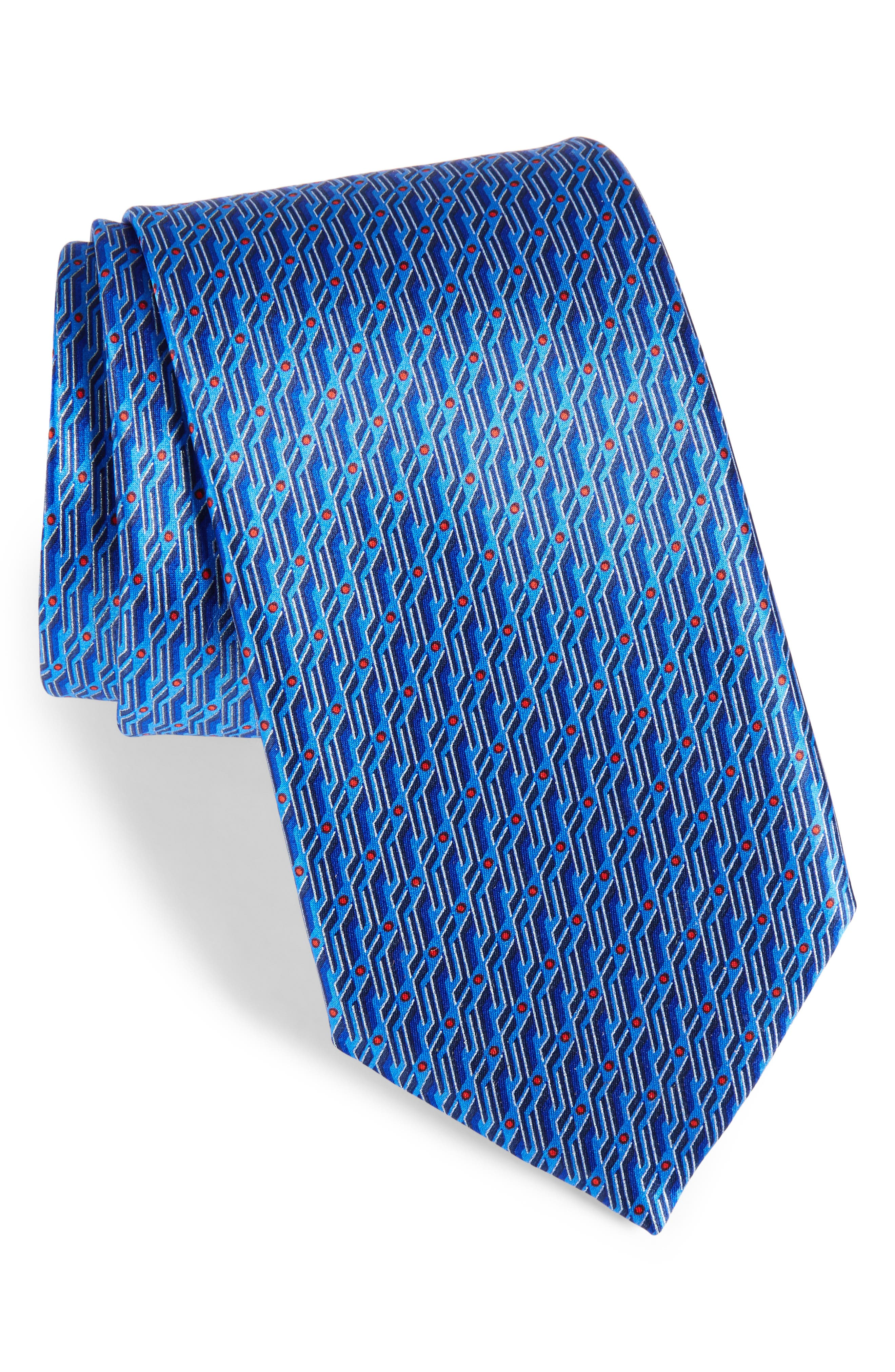 Geo Print Silk Tie,                             Main thumbnail 1, color,                             Dark Blue