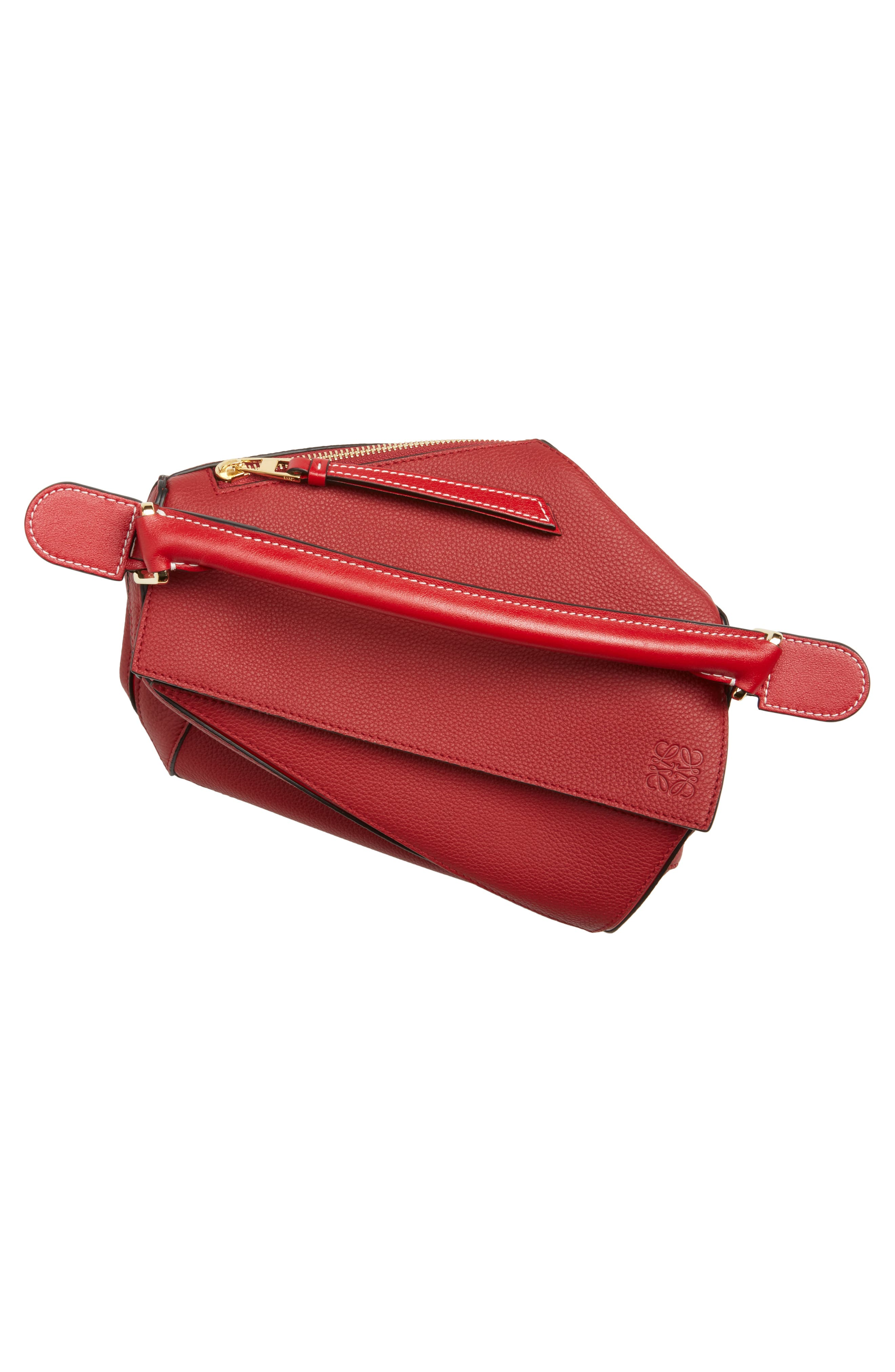 Small Puzzle Leather Shoulder Bag,                             Alternate thumbnail 7, color,                             Rouge