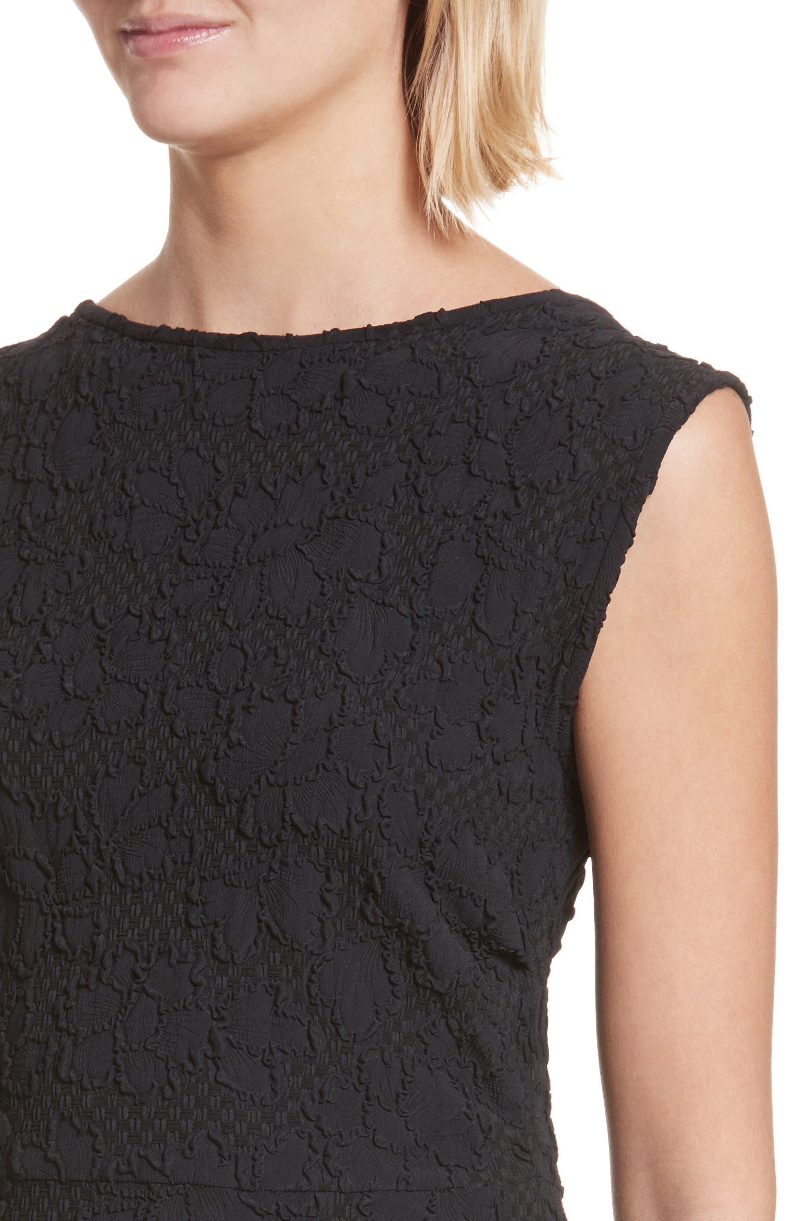 Medina Floral Jacquard Sheath Dress,                             Alternate thumbnail 4, color,                             Black