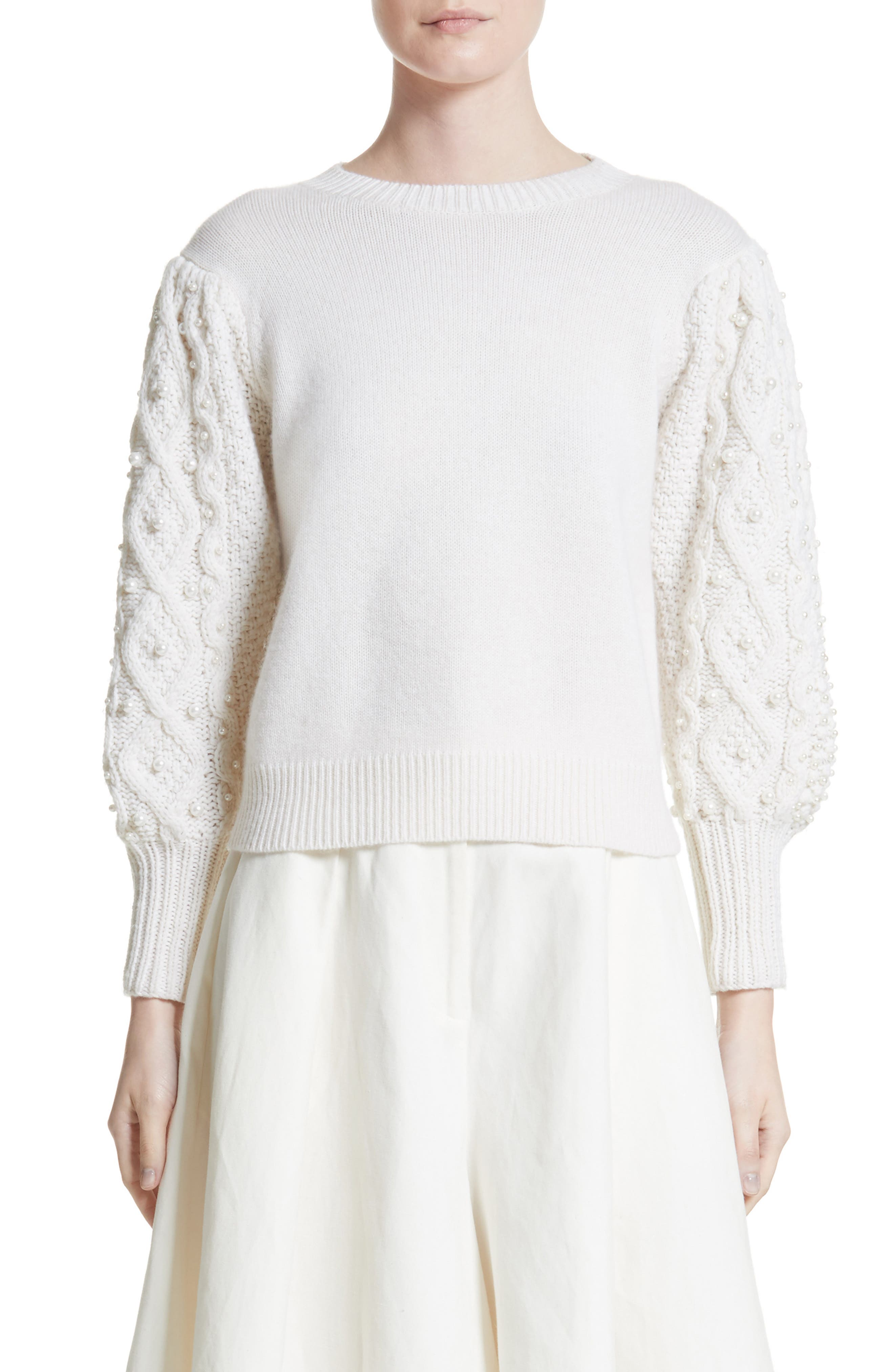 Imitation Pearl Embellished Wool & Cashmere Sweater,                             Main thumbnail 1, color,                             Ivory