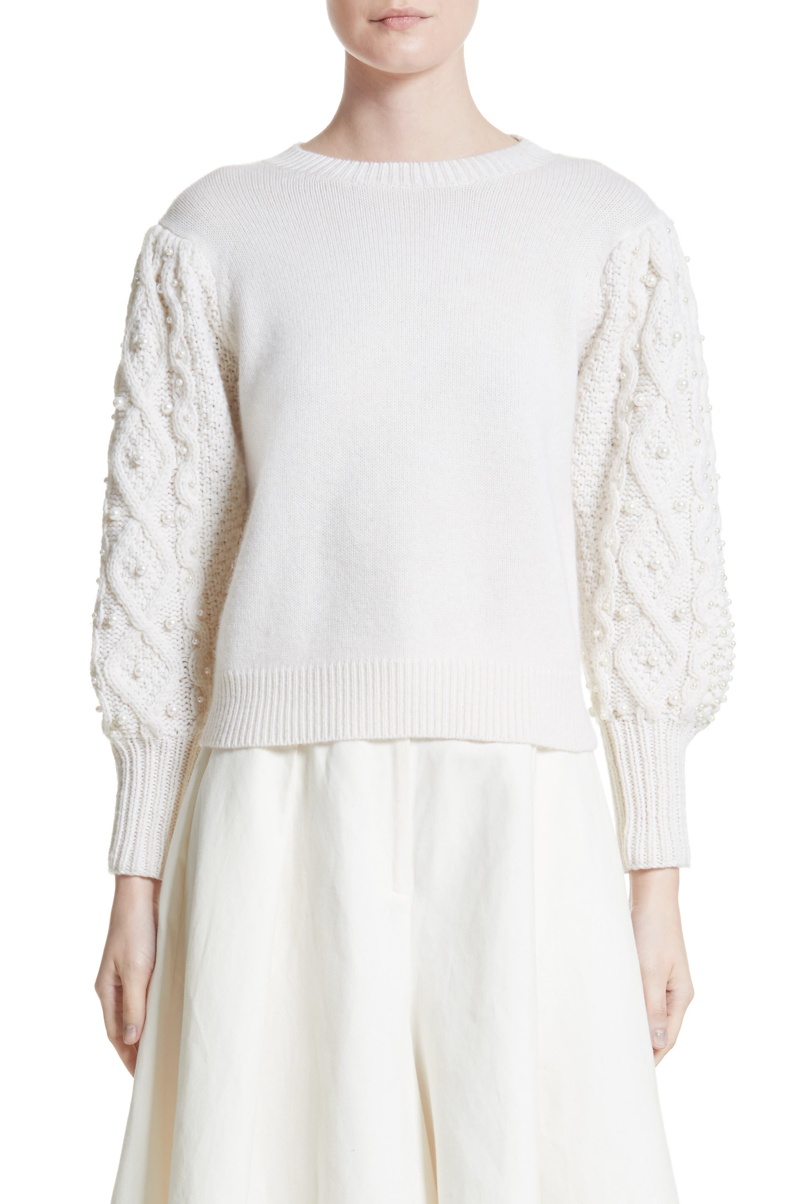 Main Image - Co Imitation Pearl Embellished Wool & Cashmere Sweater