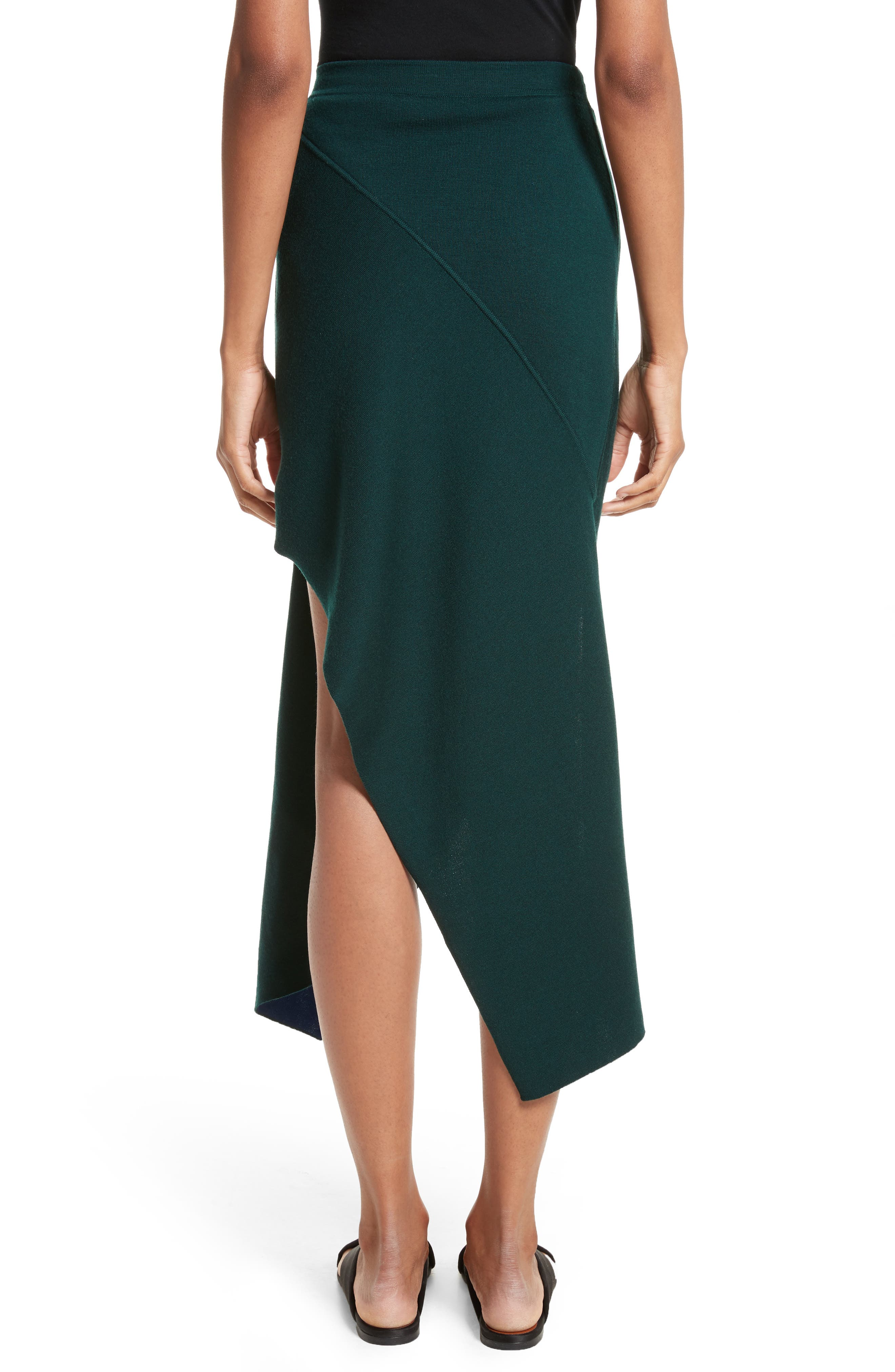 Reversible Asymmetrical Knit Midi Skirt,                             Alternate thumbnail 2, color,                             Ivy/ Lapis