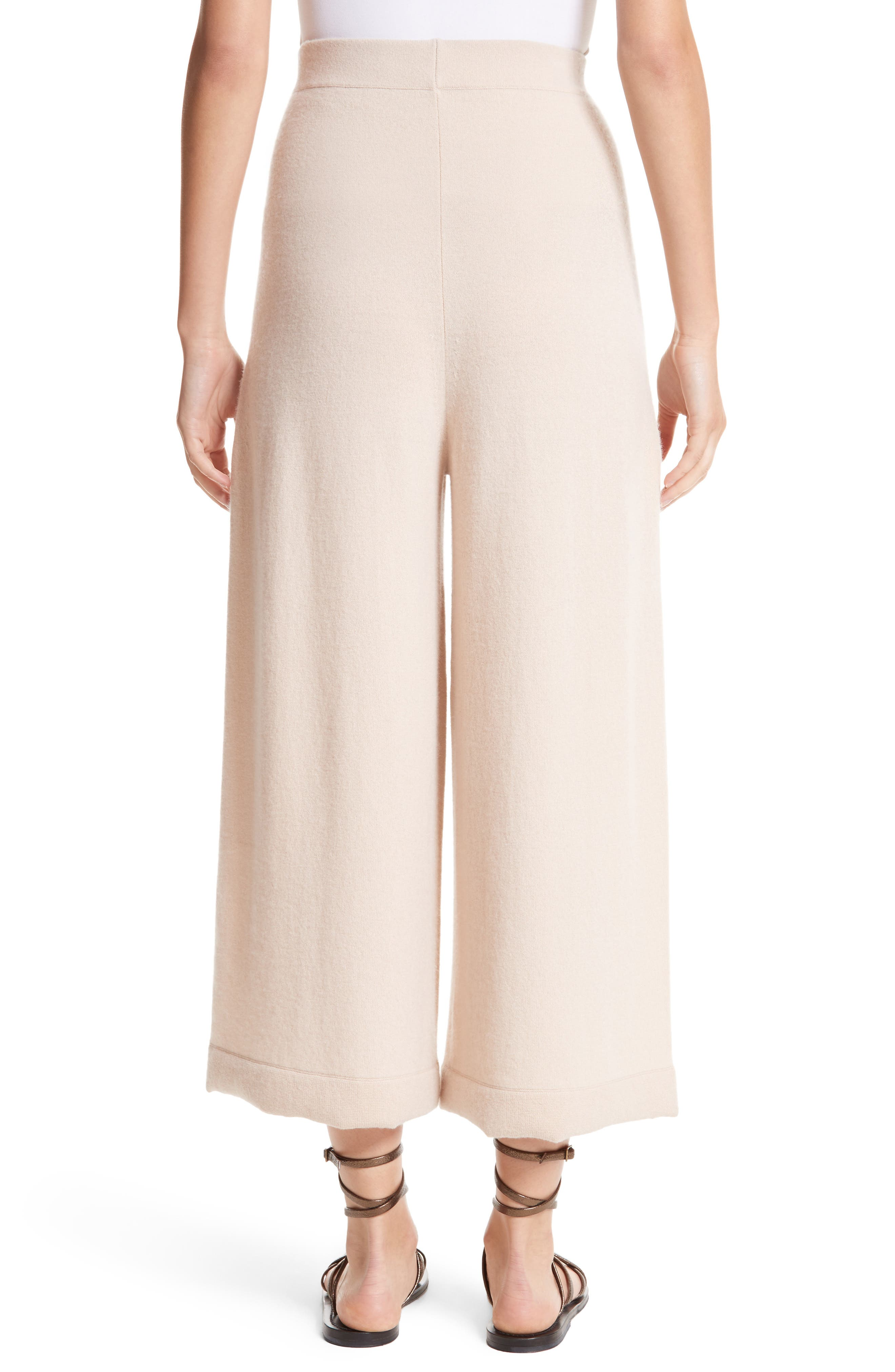 Cashmere Crop Wide Leg Pants,                             Alternate thumbnail 2, color,                             Fawn