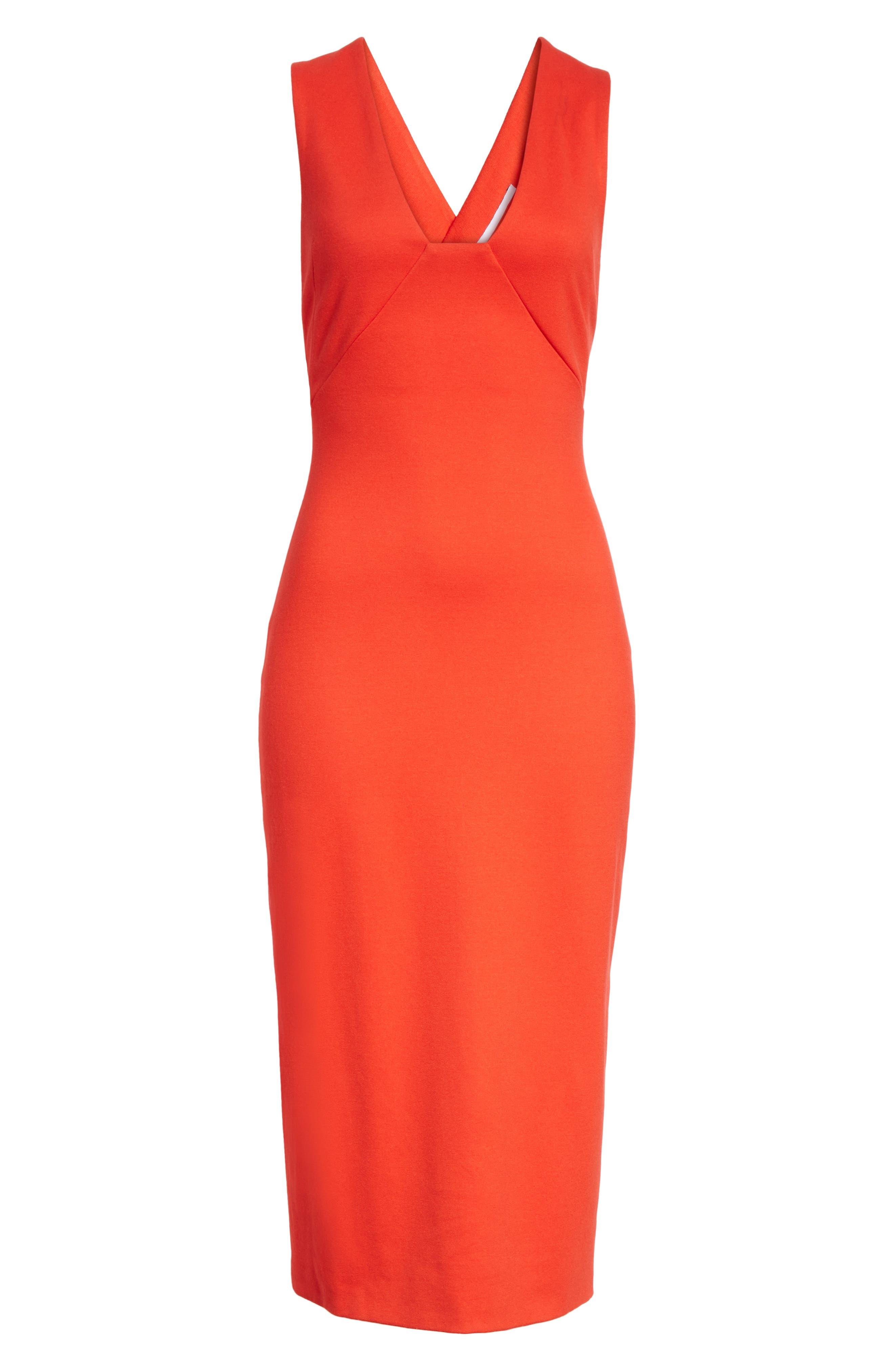 Crossback Sheath Dress,                             Alternate thumbnail 6, color,                             Scarlet