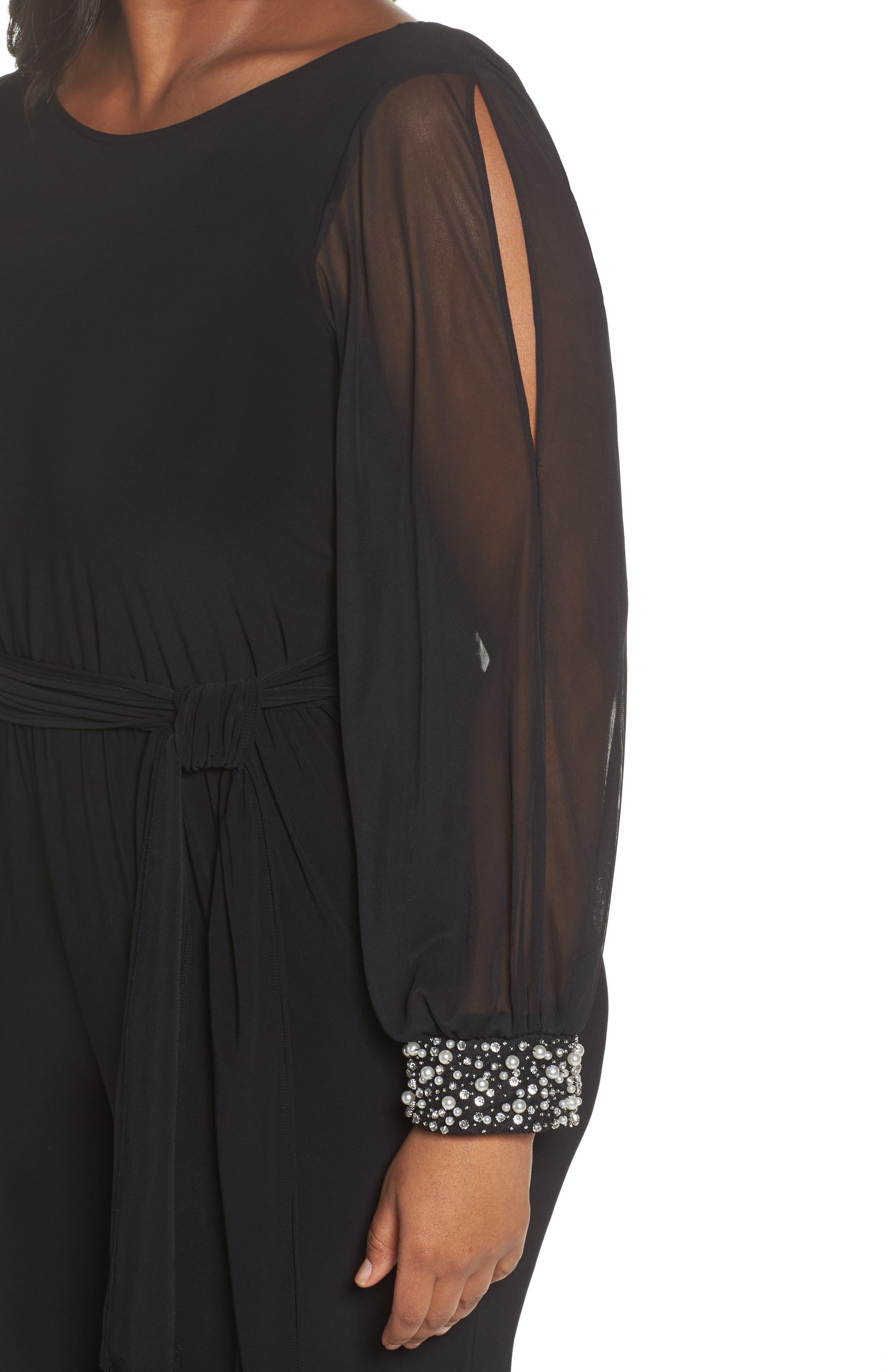 Alternate Image 4  - Marina Embellished Cowl Back Jumpsuit (Plus Size)