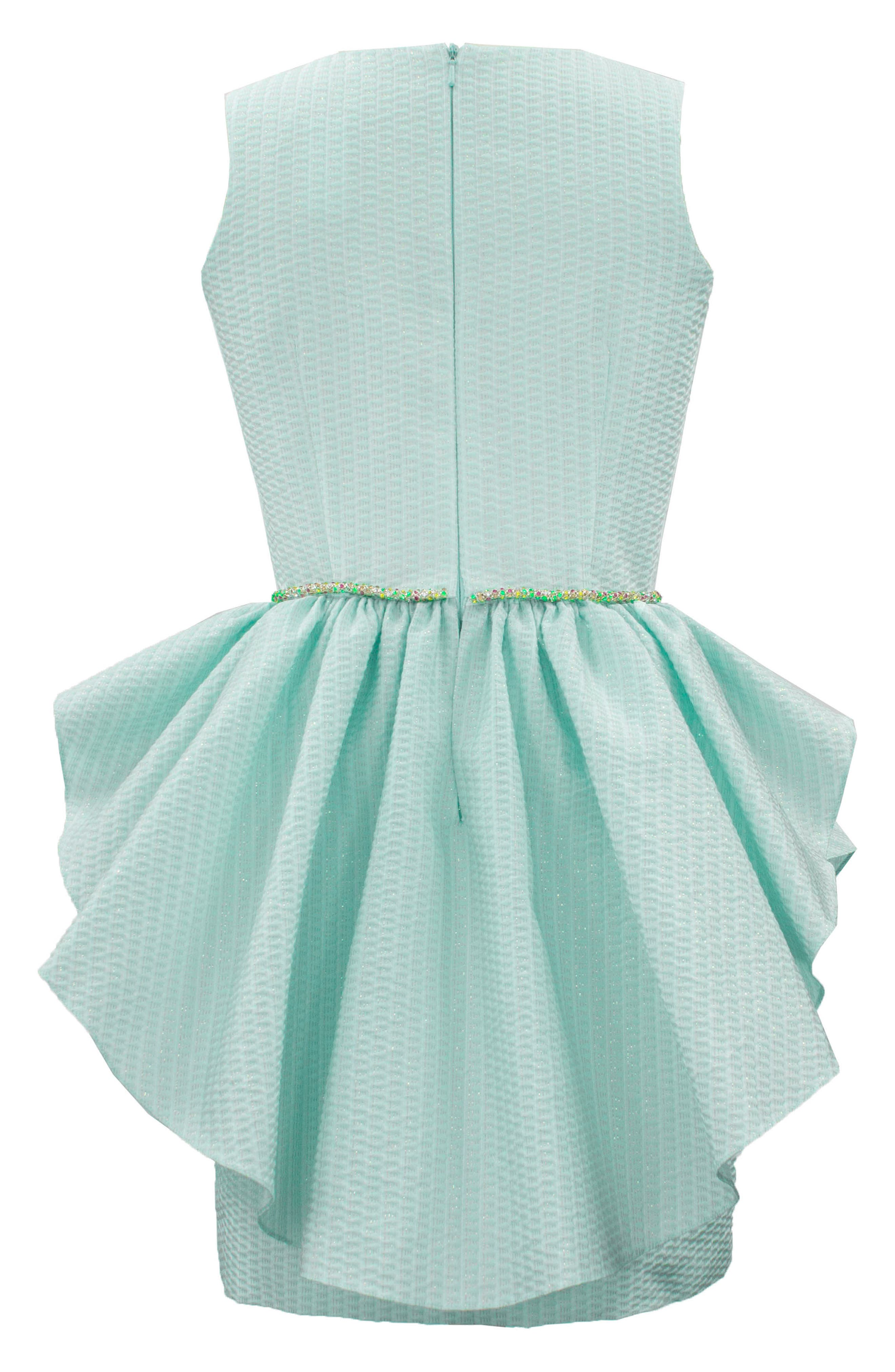 Ruffle Overlay Brocade Dress,                             Alternate thumbnail 2, color,                             Turquoise