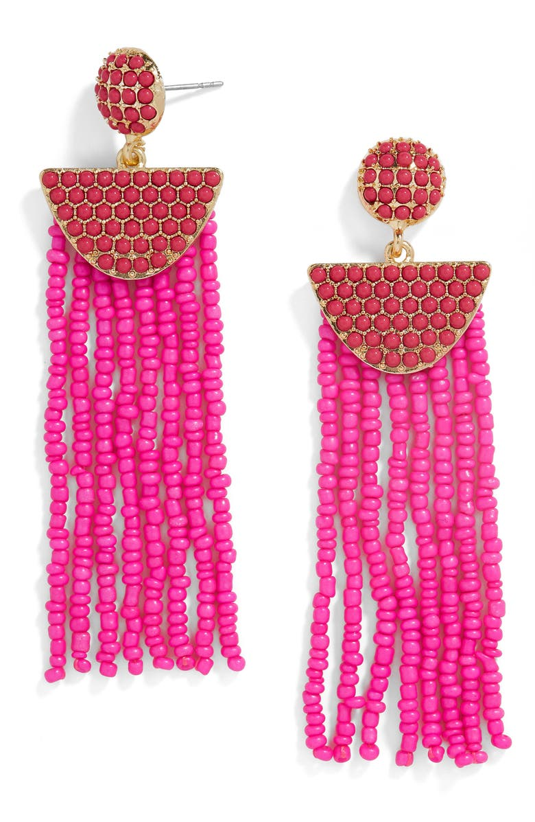Tarot Beaded Deco Drop Earrings,                         Main,                         color, Hot Pink