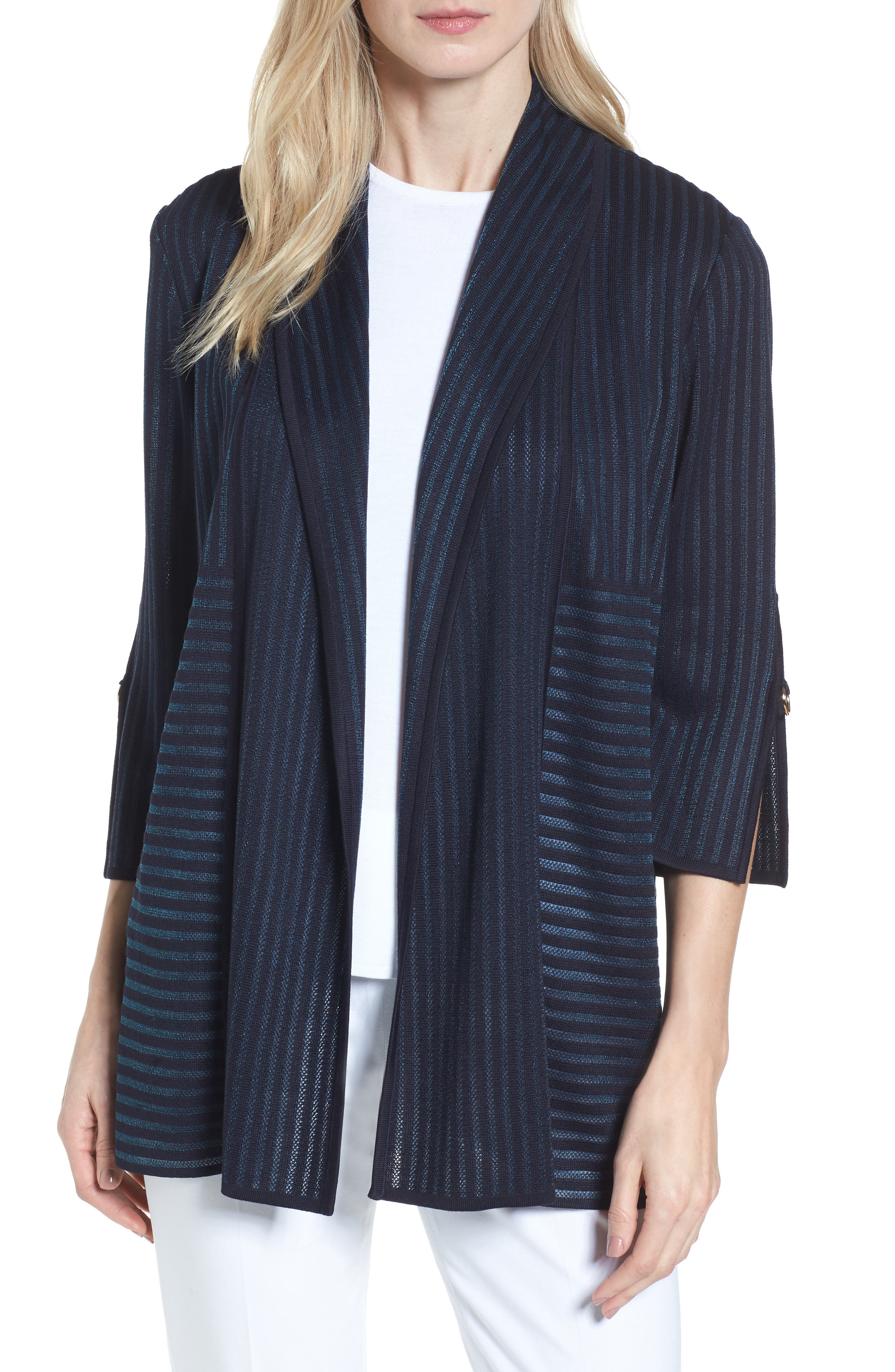 Ming Wang Stripe Jacquard Jacket
