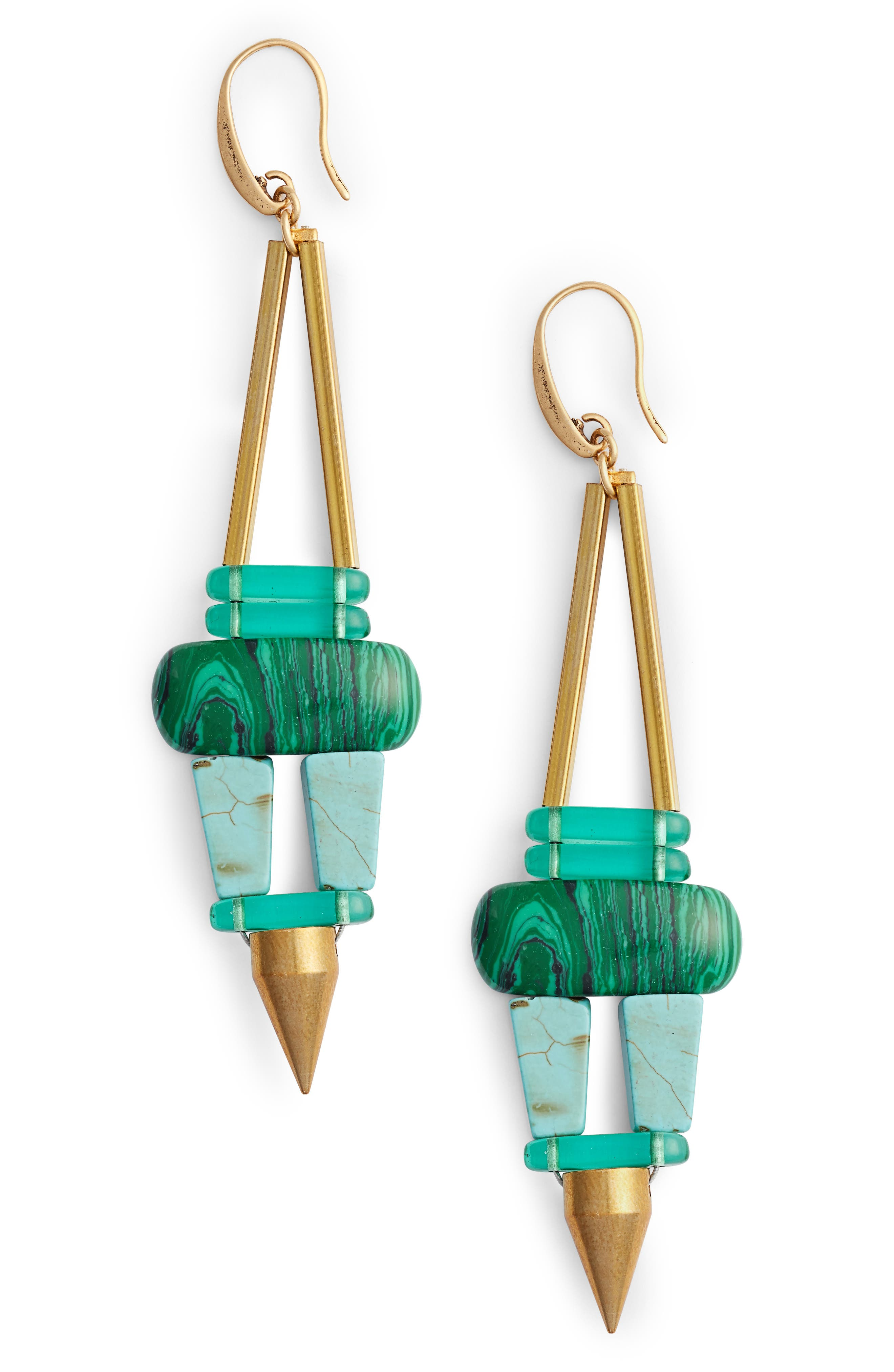 Priscilla Drop Earrings,                         Main,                         color, Green/ Ivory