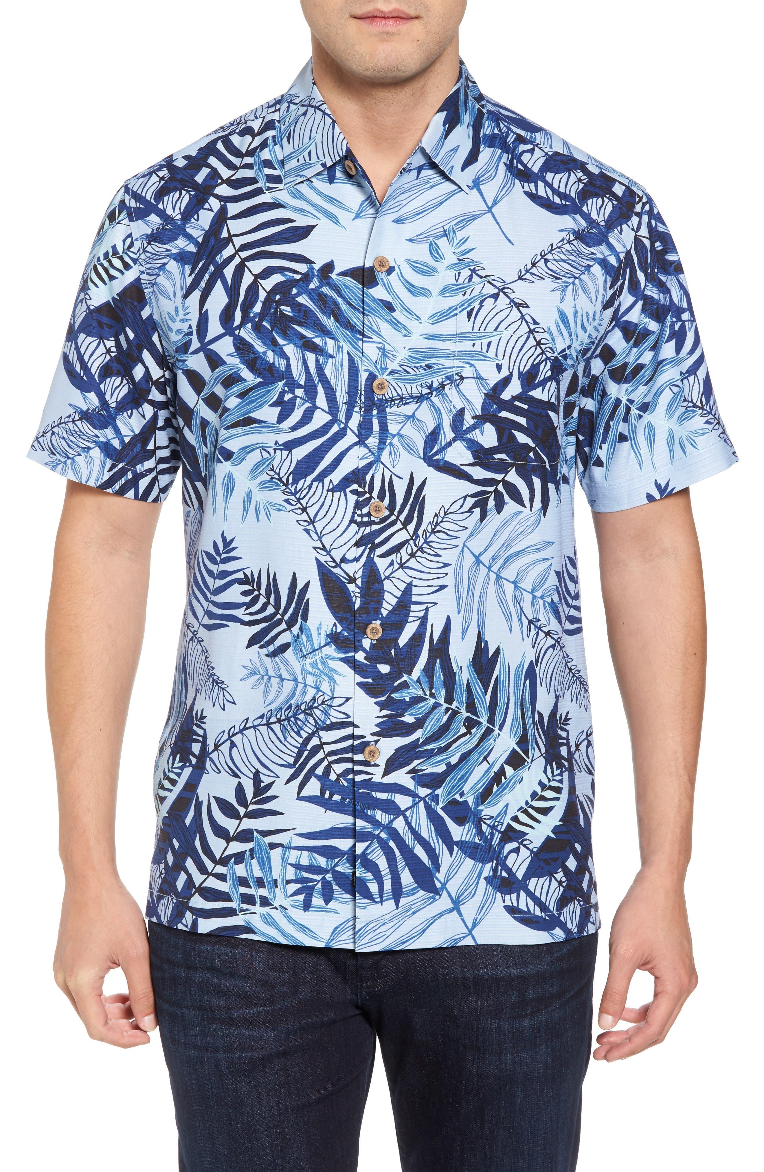 Glade Tropics Regular Fit Silk Sport Shirt,                             Main thumbnail 1, color,                             Fresh Air