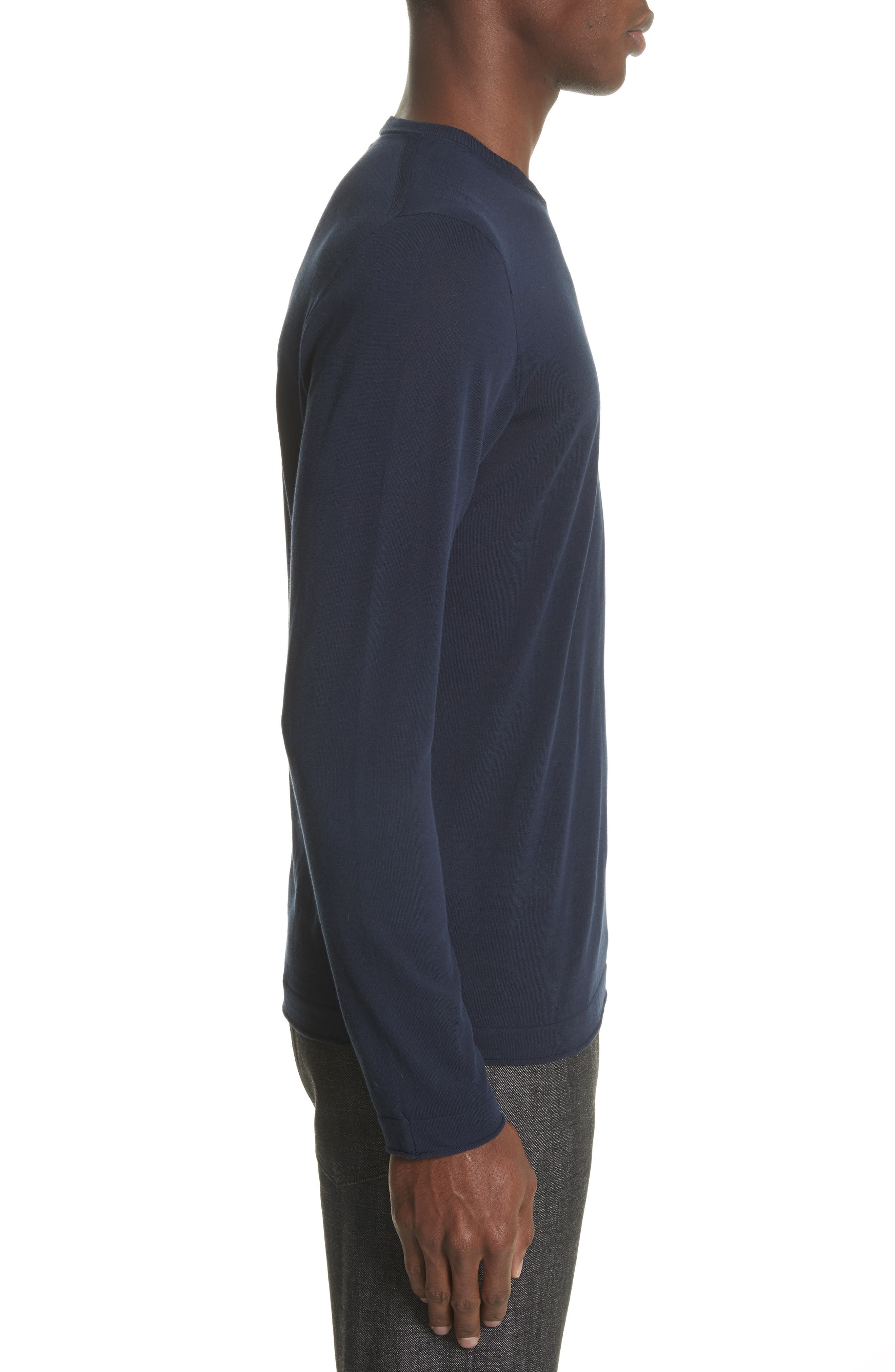 Embroidered Crest Sweater,                             Alternate thumbnail 3, color,                             Blue