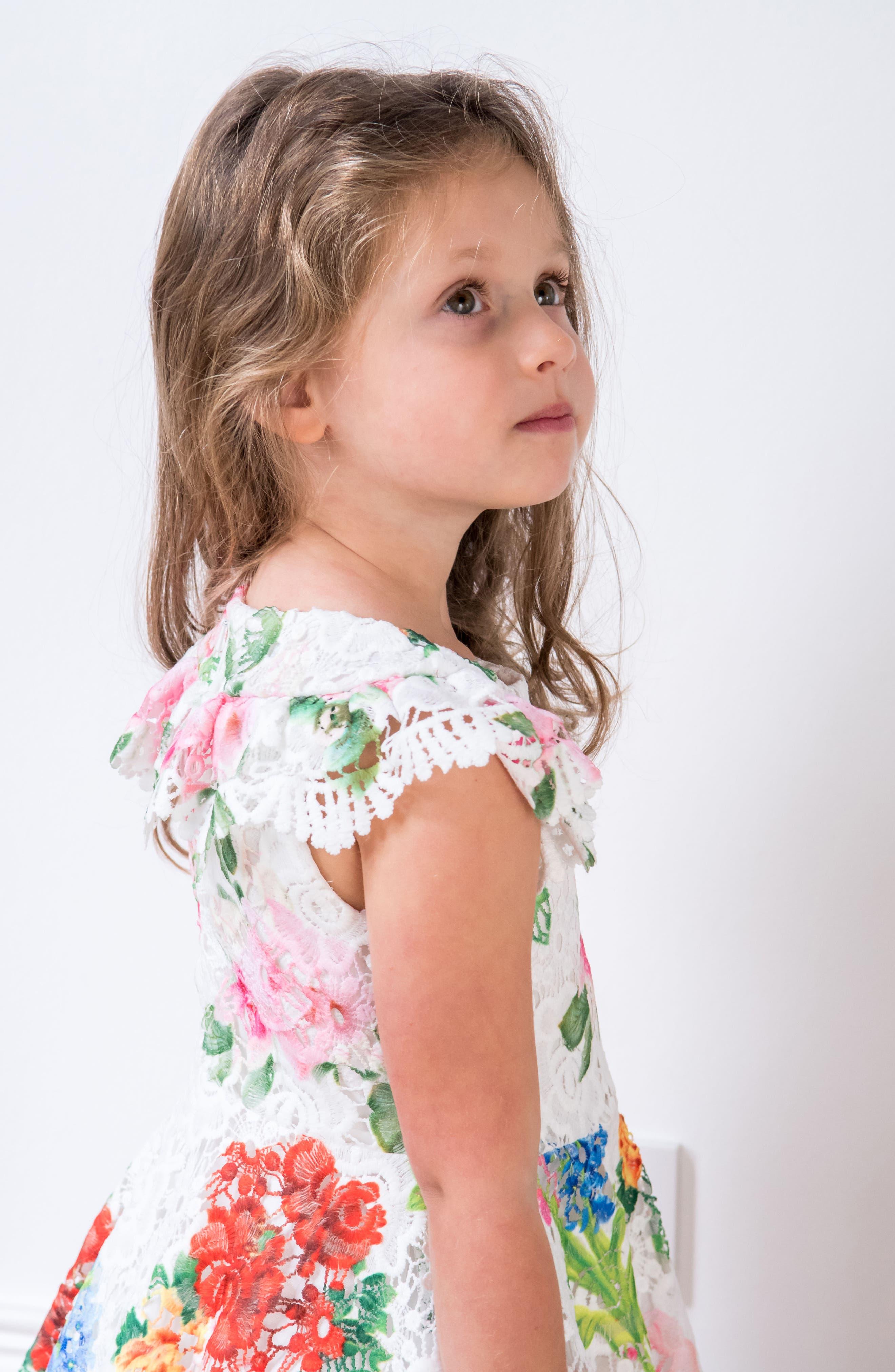 Print Lace Dress,                             Alternate thumbnail 5, color,                             Ivory/ Multi Color