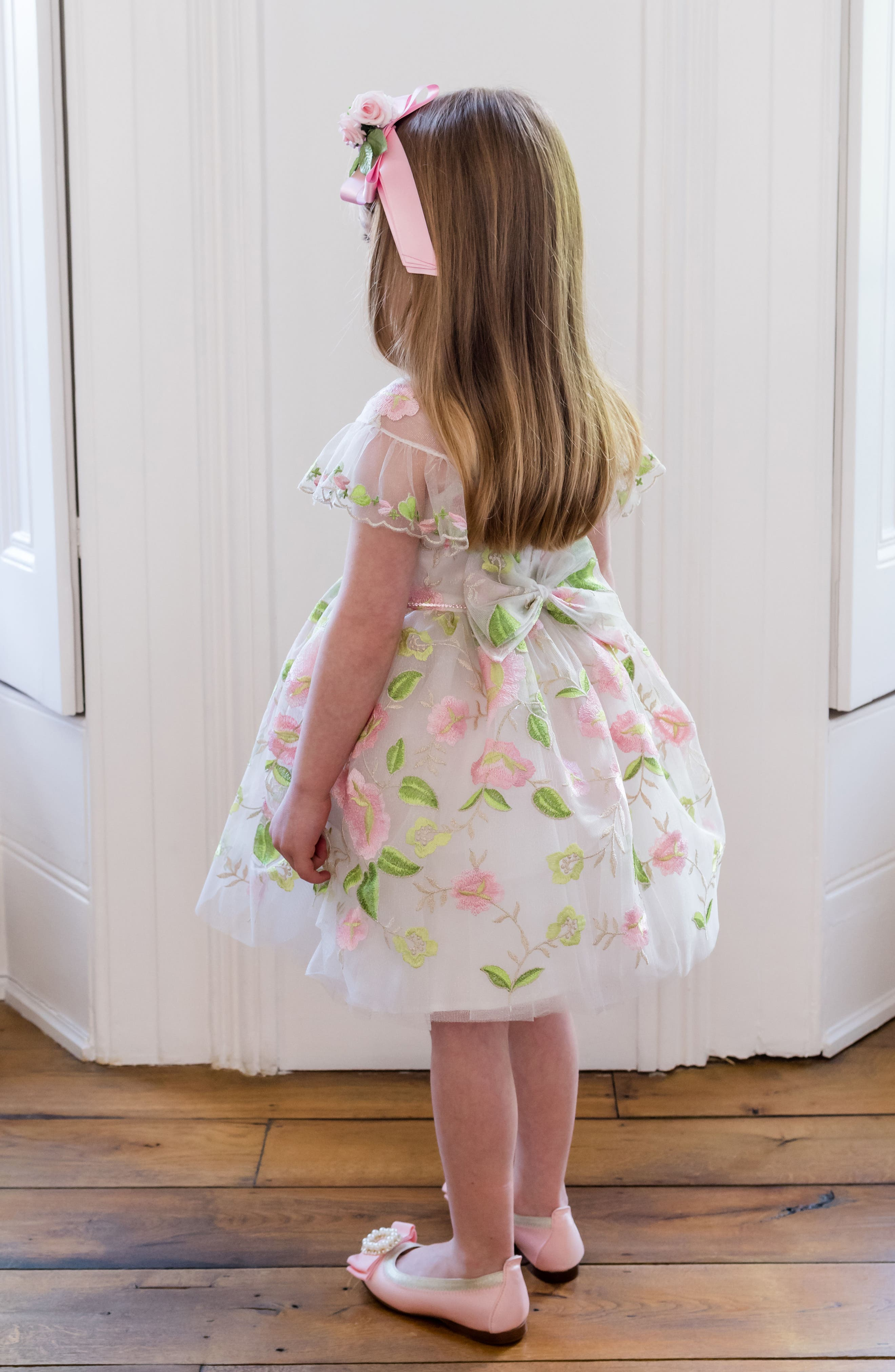 Embroidered Tulle Party Dress,                             Alternate thumbnail 4, color,                             Ivory/ Pink/ Green