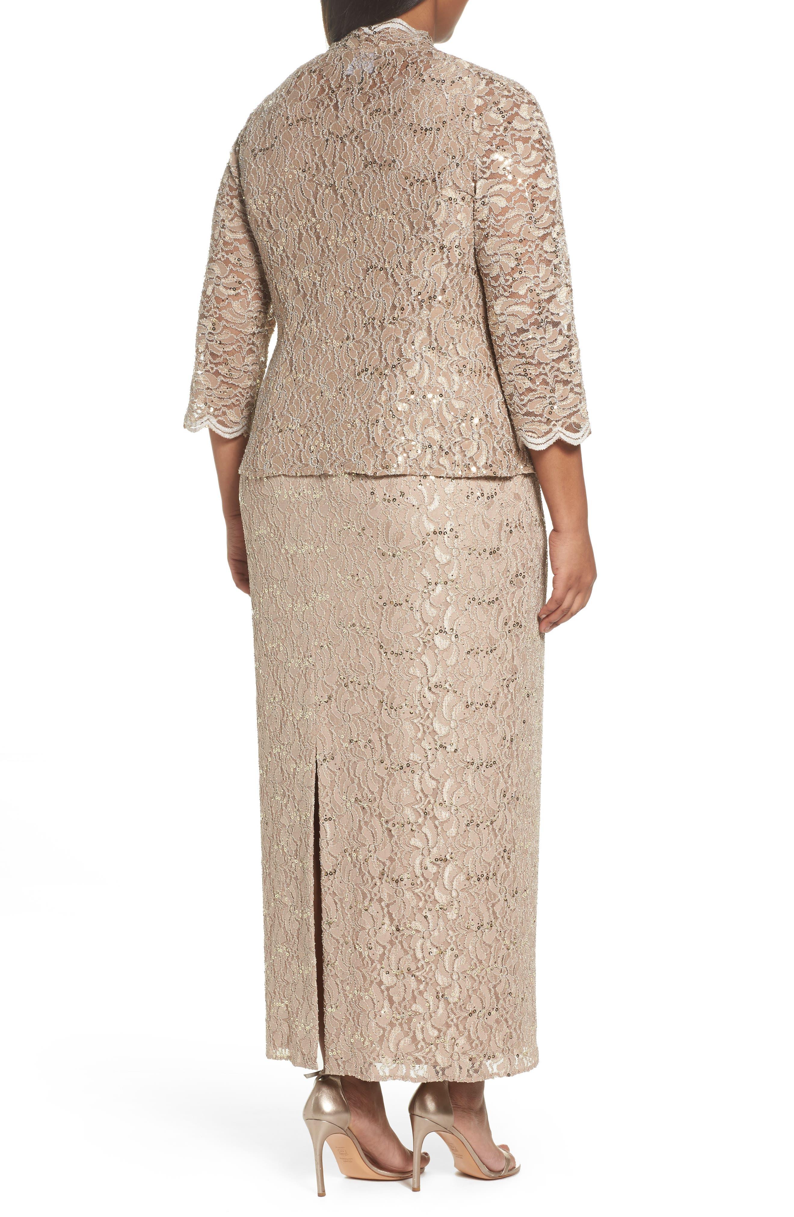 Sequin Lace Gown & Jacket,                             Alternate thumbnail 2, color,                             Champagne