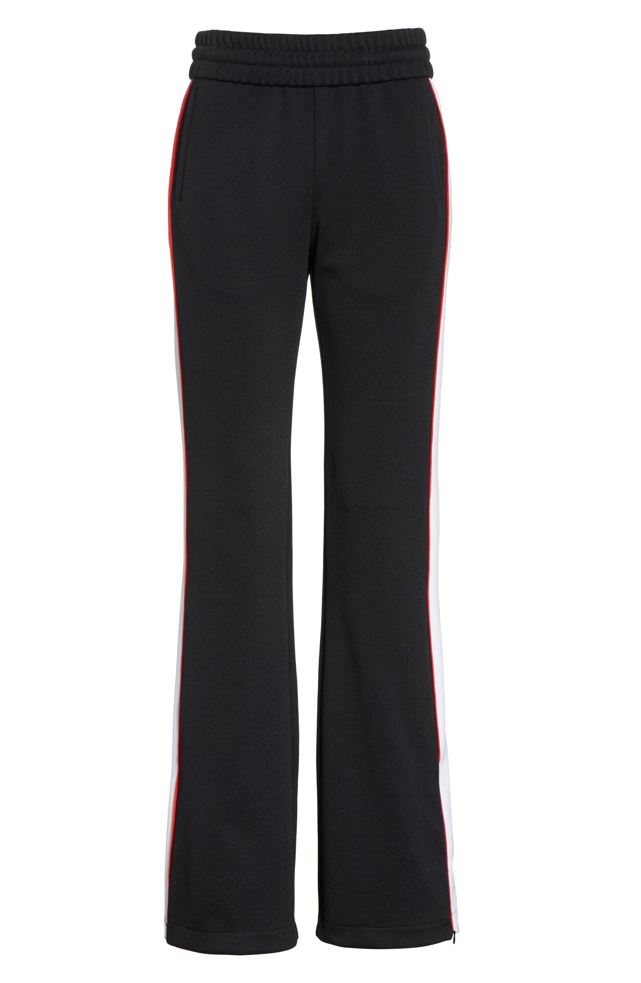 Flare Leg Track Pants,                             Alternate thumbnail 6, color,                             Black/ No Color