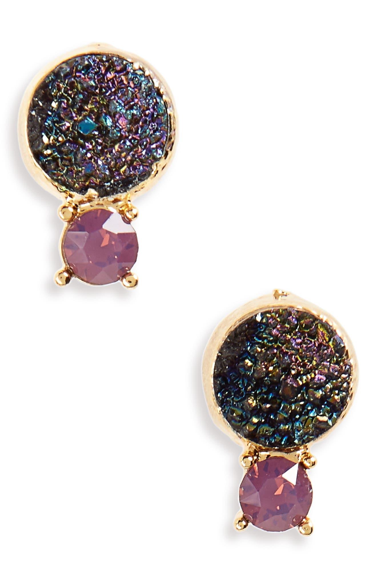 Crystal & Faux Drusy Stud Earrings,                         Main,                         color, Multi