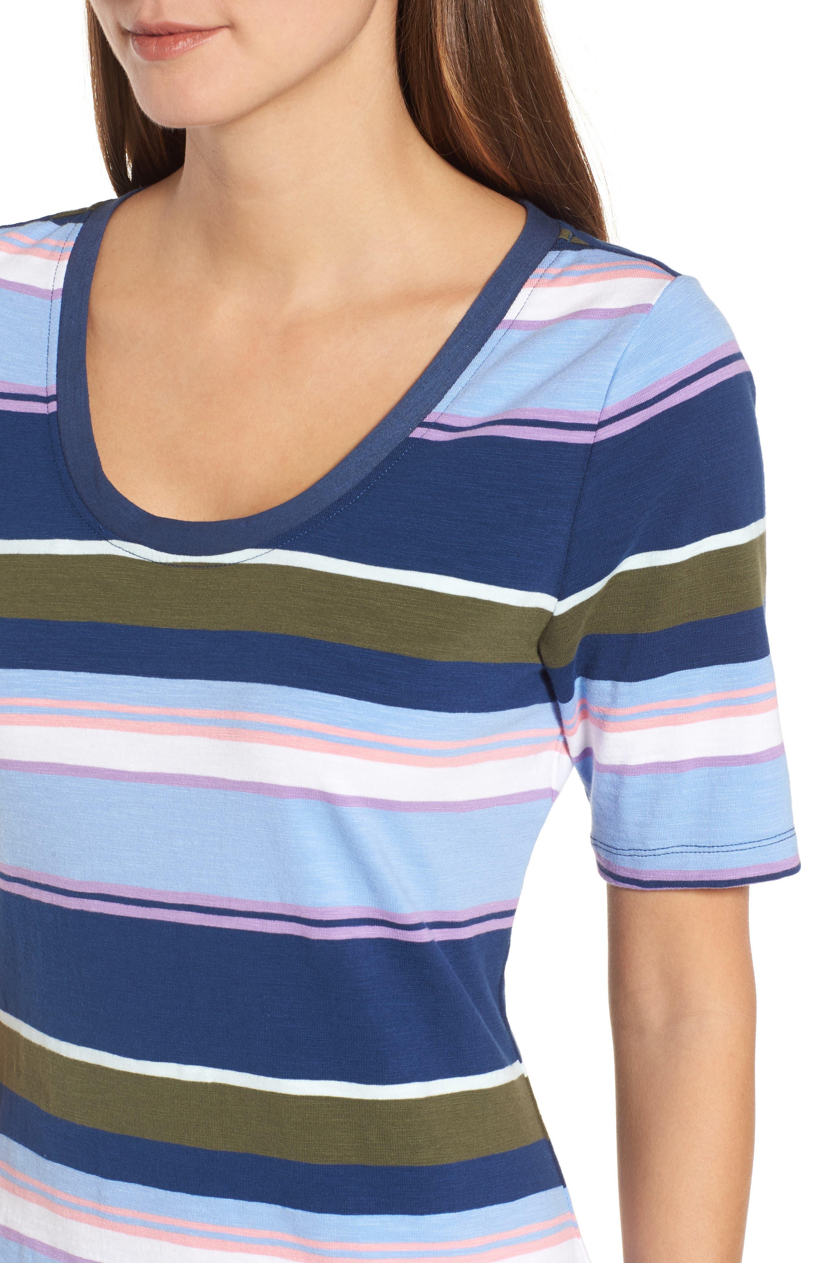 Stripe Scoop Neck Dress,                             Alternate thumbnail 4, color,                             Kingdom Blue