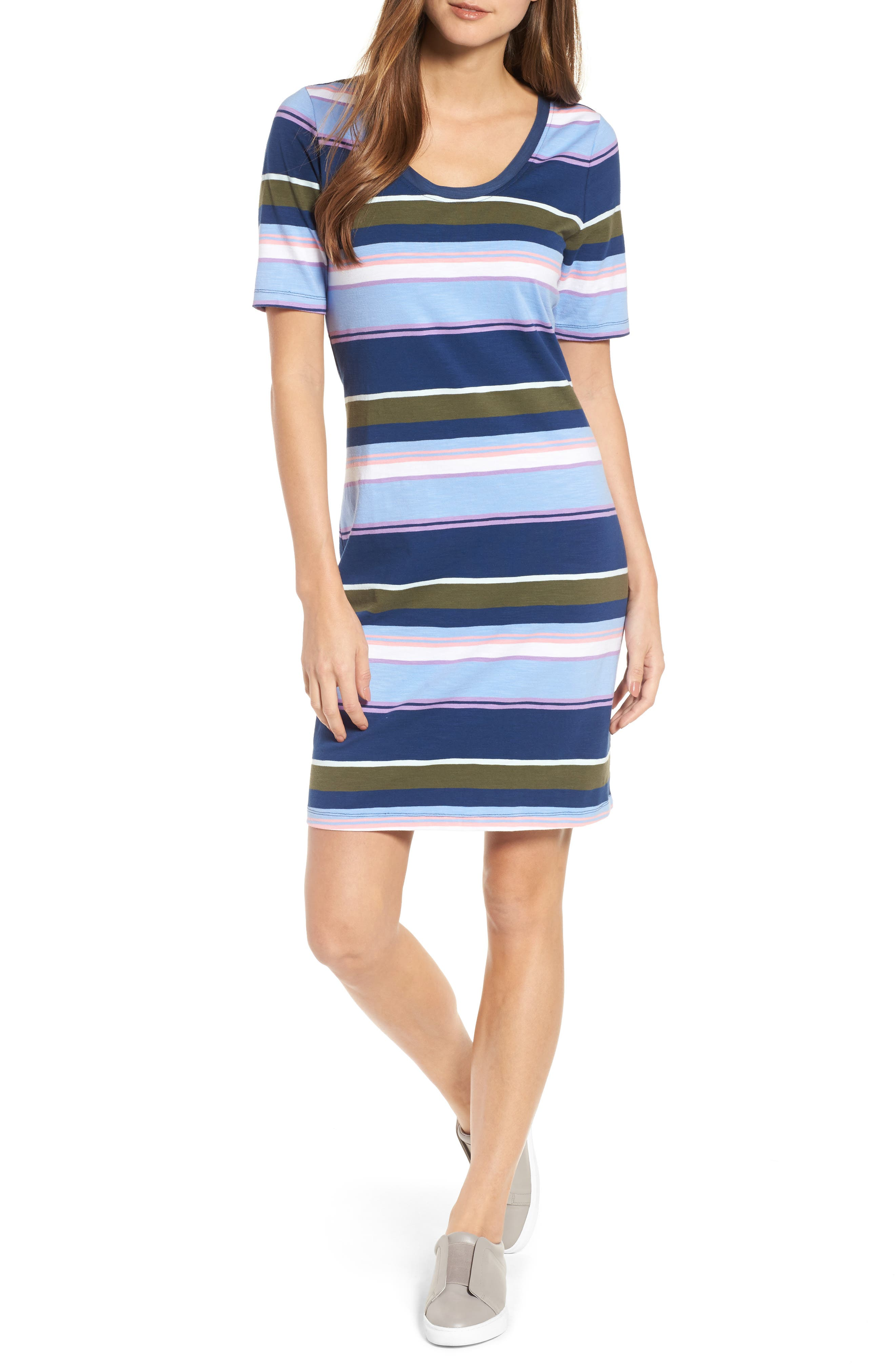 Stripe Scoop Neck Dress,                             Main thumbnail 1, color,                             Kingdom Blue