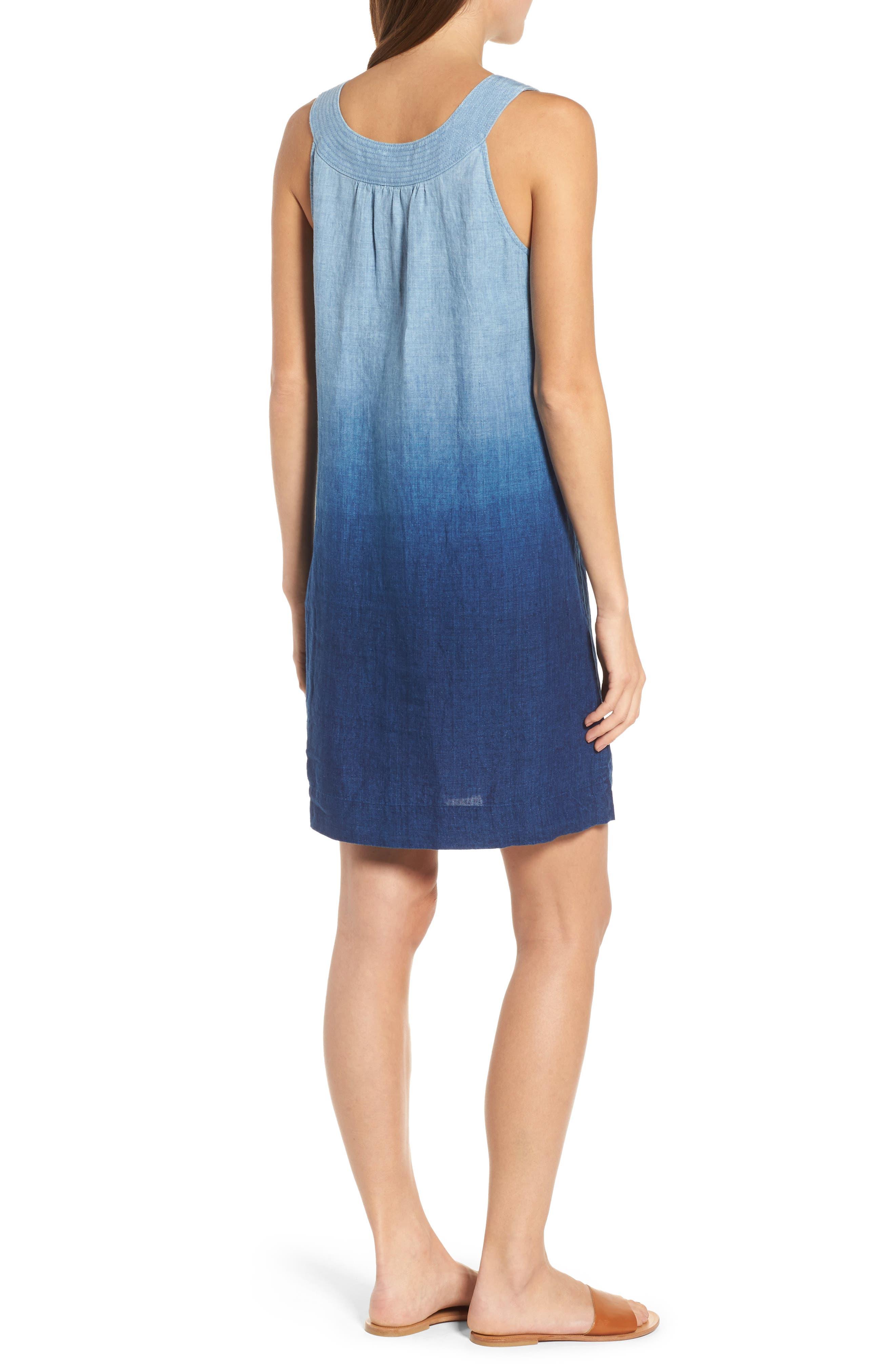 Indigo Dip Dyed Shift Dress,                             Alternate thumbnail 2, color,                             Dark Indigo Wash