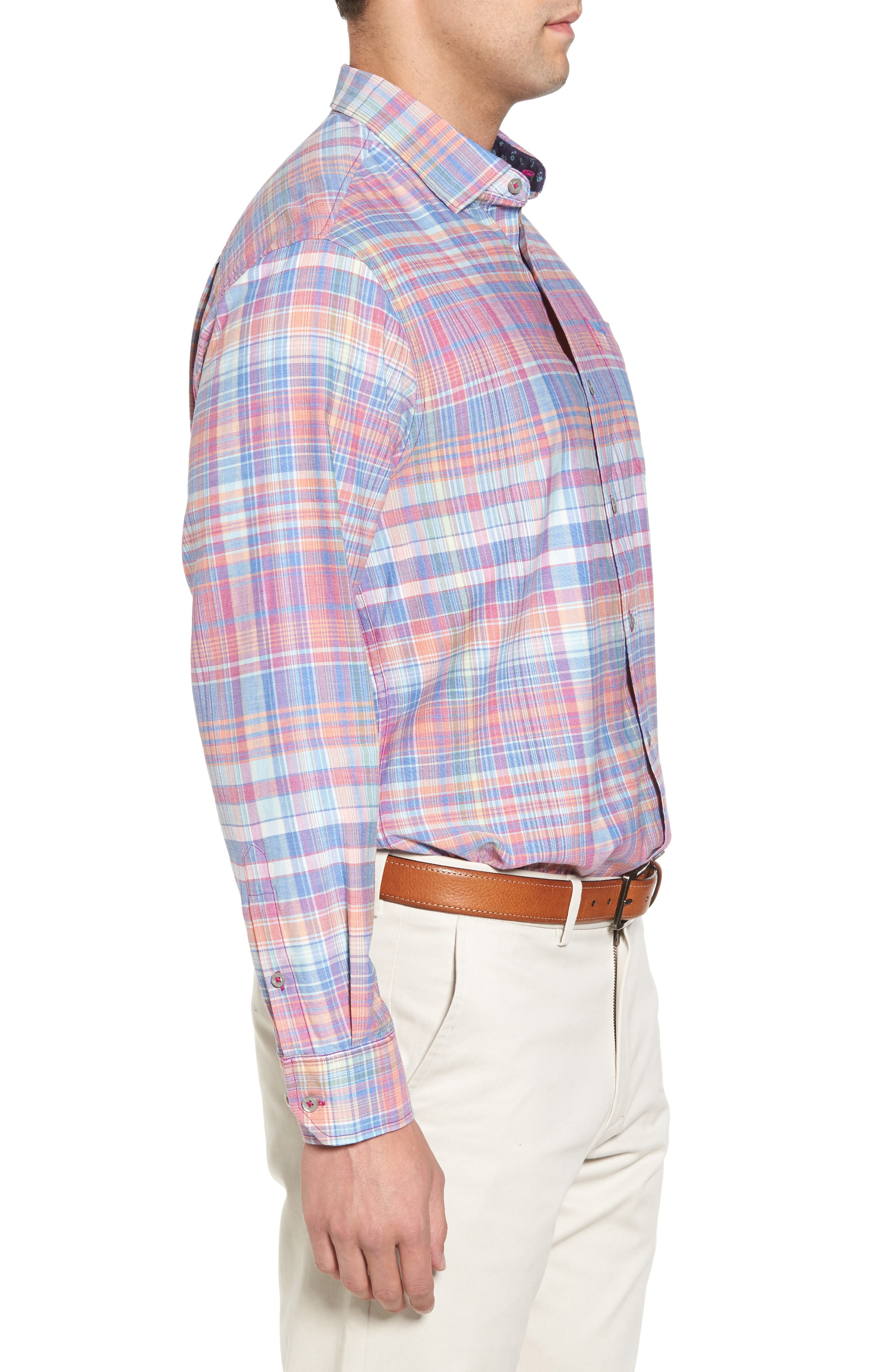 Mangrove Madras Regular Fit Sport Shirt,                             Alternate thumbnail 3, color,                             Virtual Pink