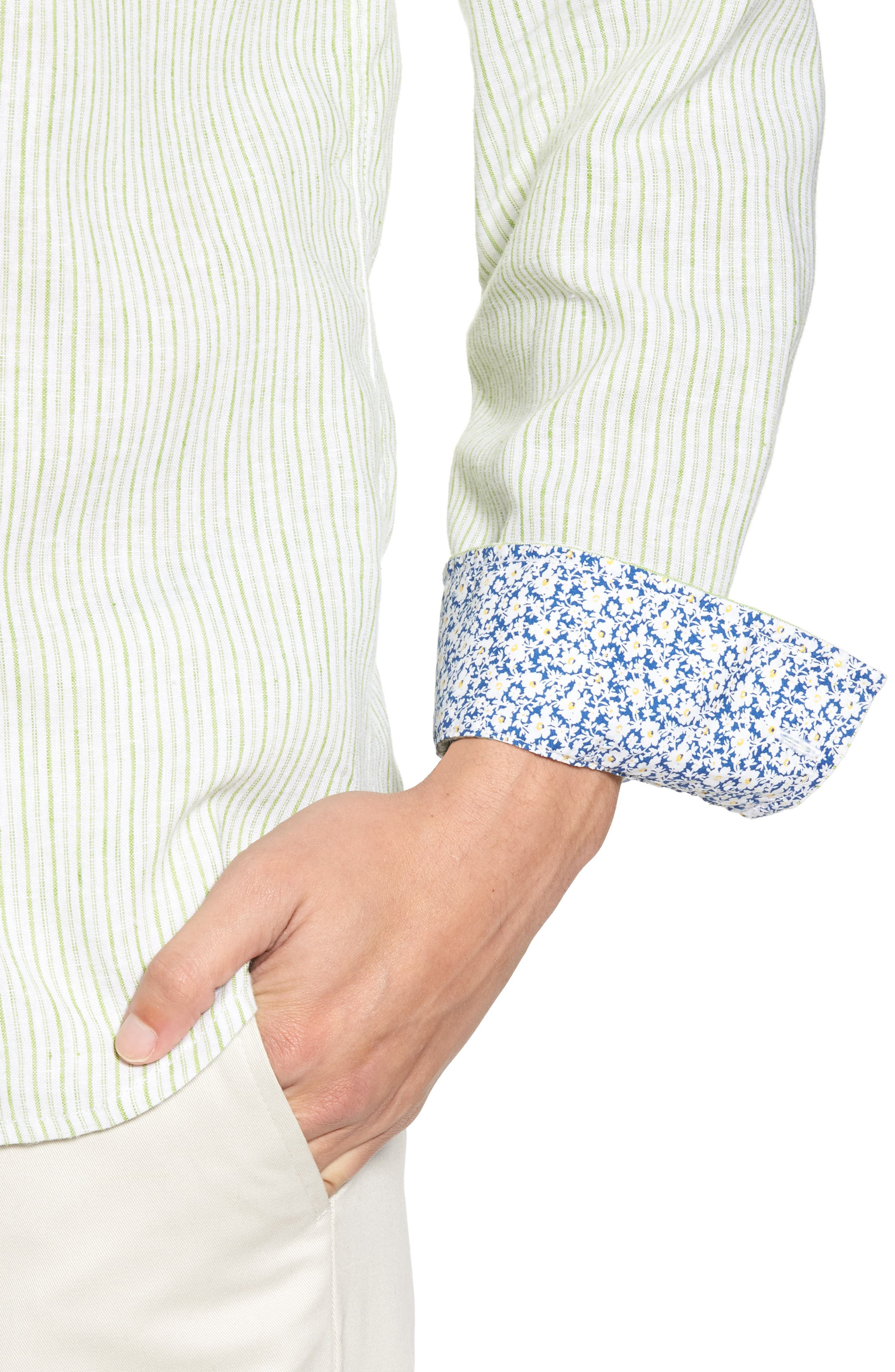 Alternate Image 4  - Tommy Bahama Bungalow Stripe Regular Fit Linen Blend Sport Shirt