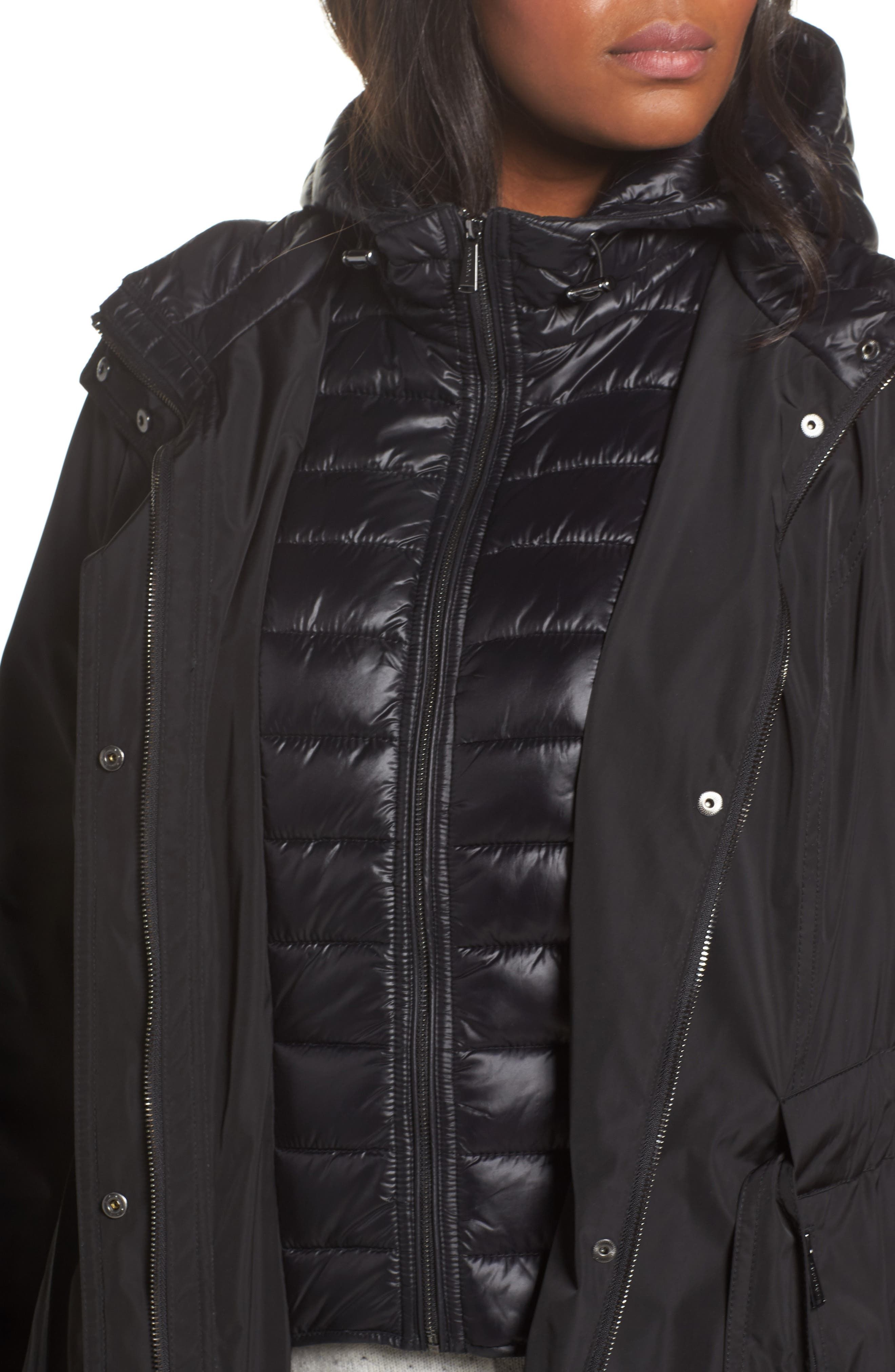 Alternate Image 4  - Laundry by Shelli Segal Water Resistant Hooded Coat with Puffer Bib Inset (Plus Size)