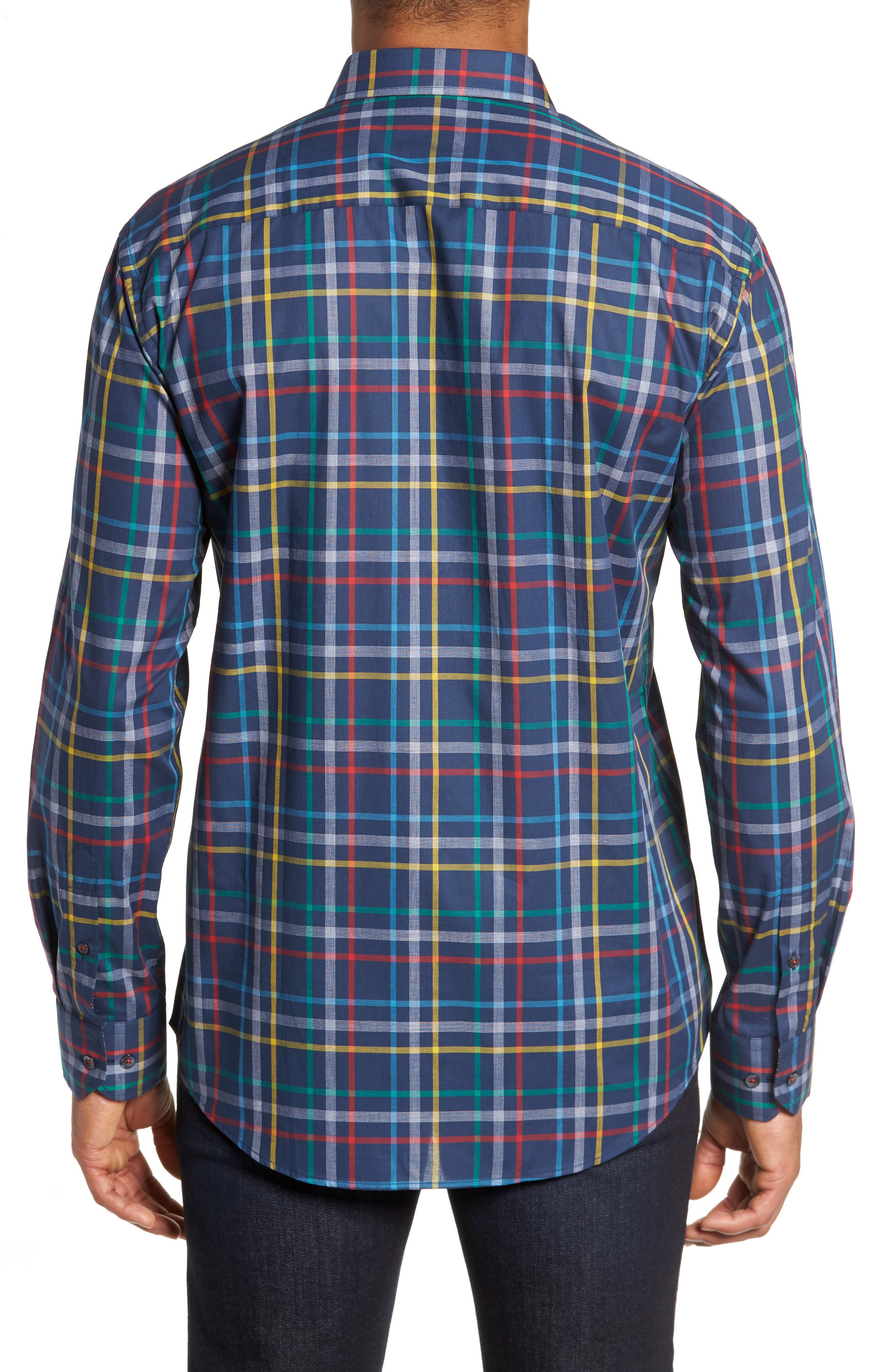 Shaped Fit Plaid Sport Shirt,                             Alternate thumbnail 2, color,                             Navy