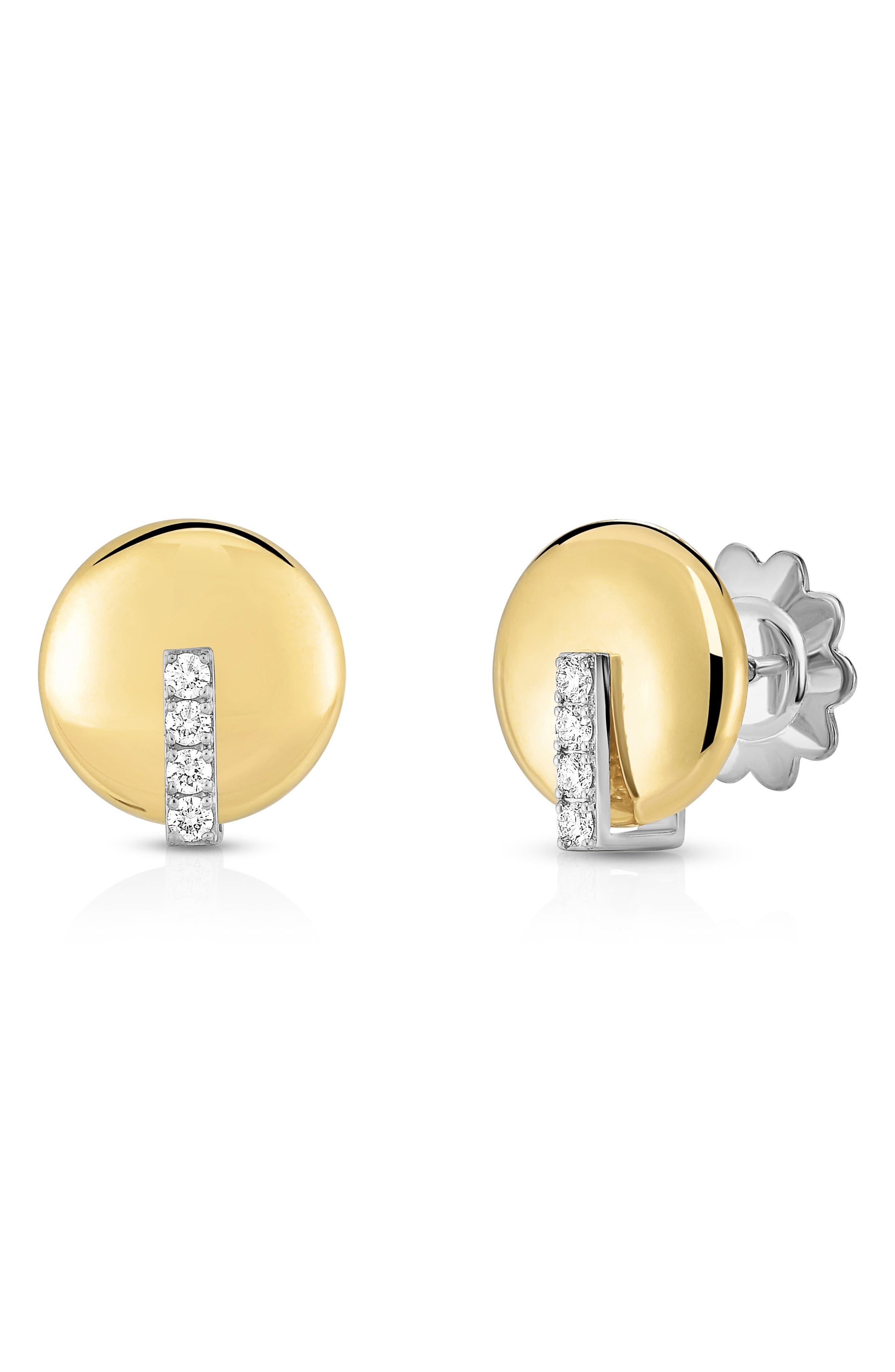 Diamond Stud Earrings,                             Main thumbnail 1, color,                             Yellow Gold