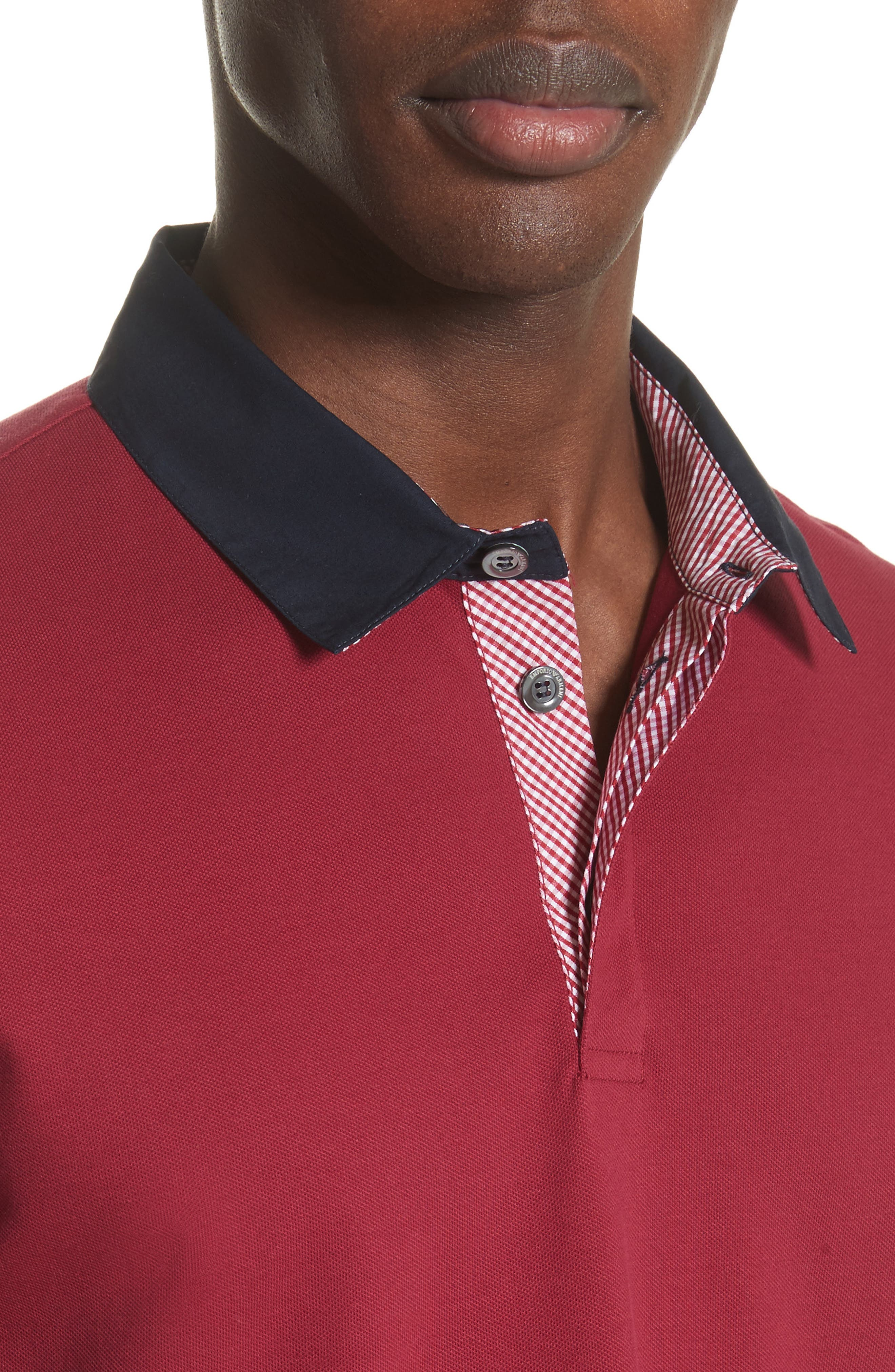 Slim Fit Piqué Polo Shirt,                             Alternate thumbnail 4, color,                             Borgogna