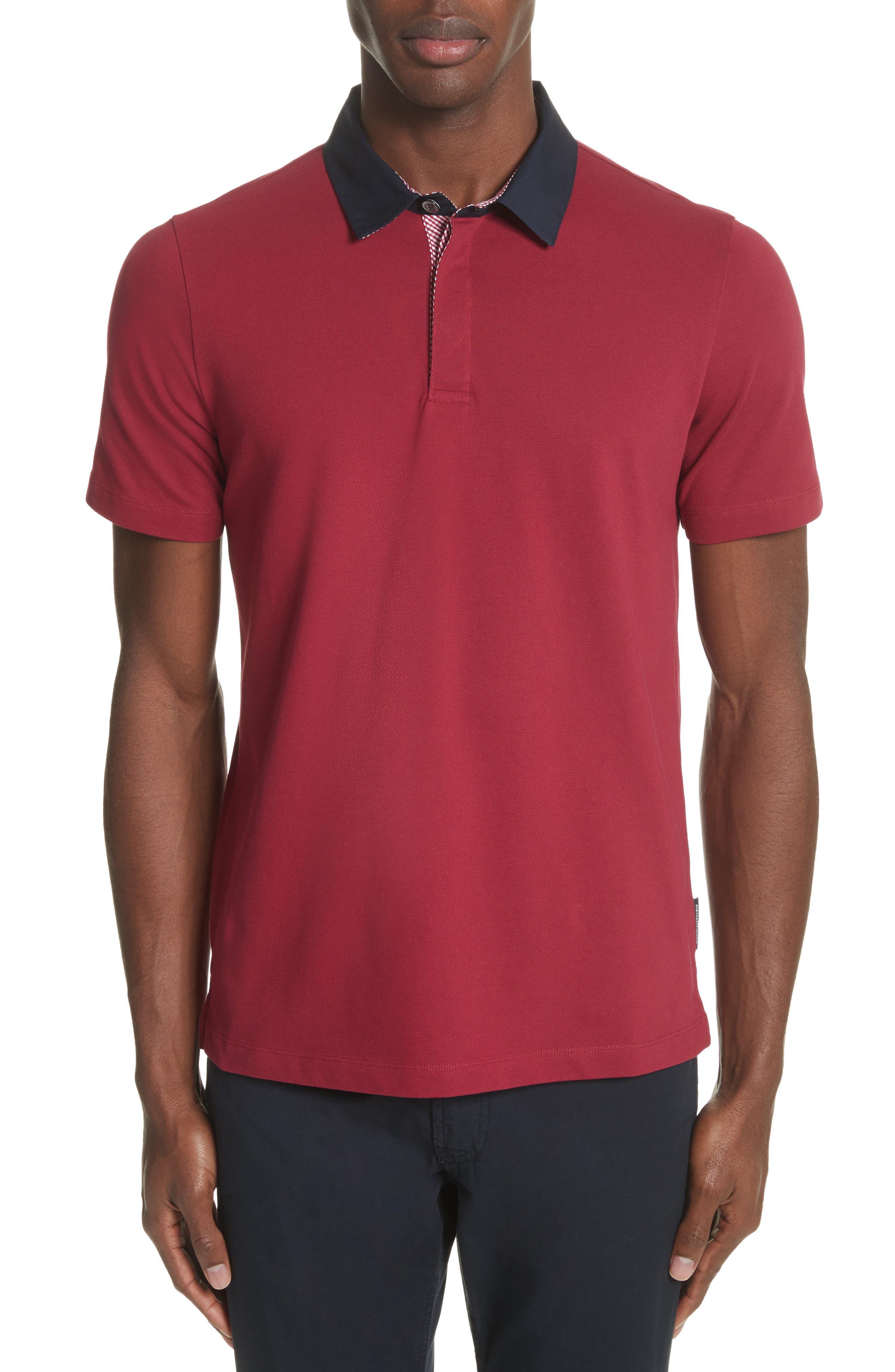 Slim Fit Piqué Polo Shirt,                             Main thumbnail 1, color,                             Borgogna