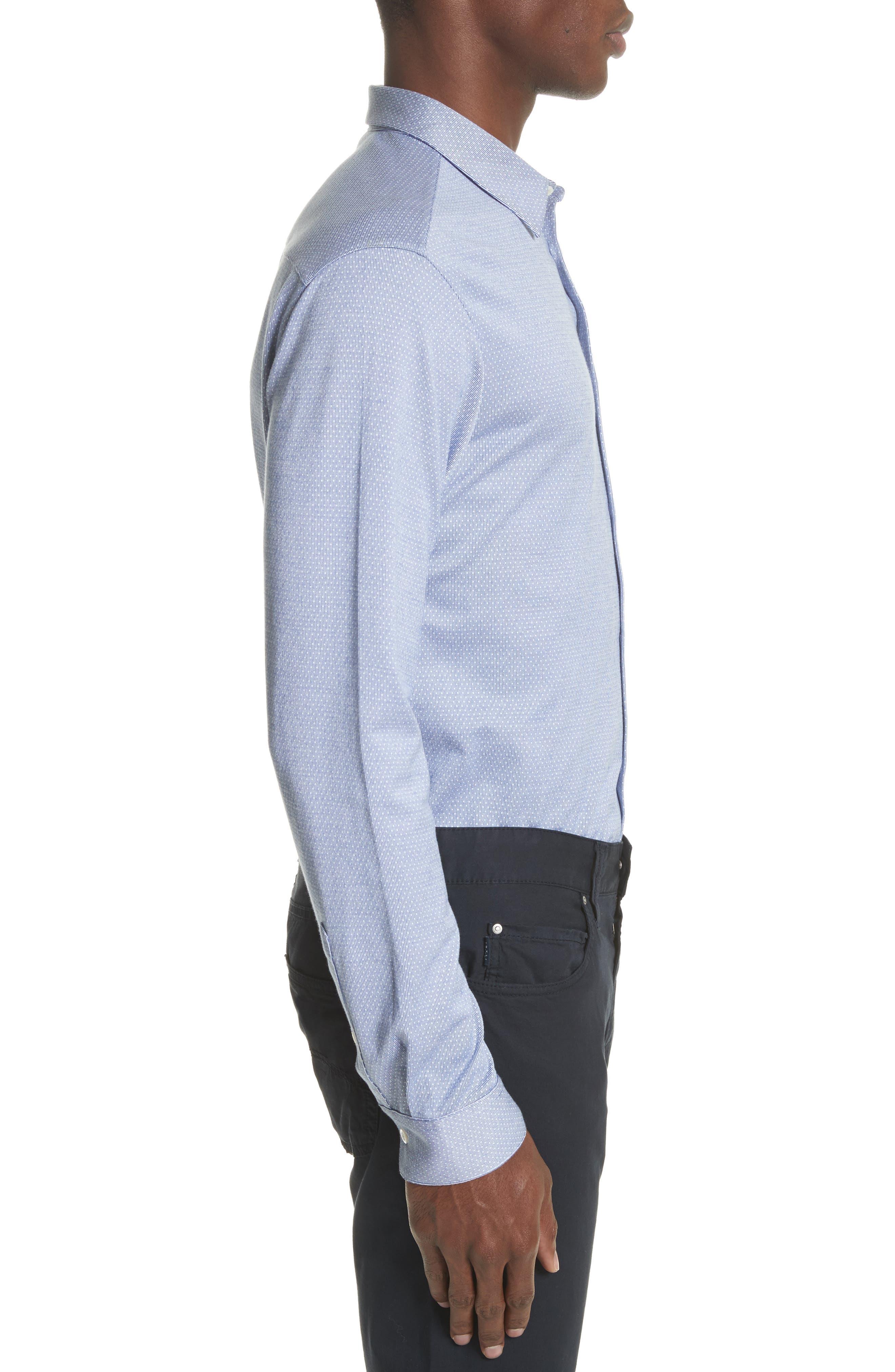 Trim Fit Yarn Dyed Sport Shirt,                             Alternate thumbnail 3, color,                             Fant.Pois Blue